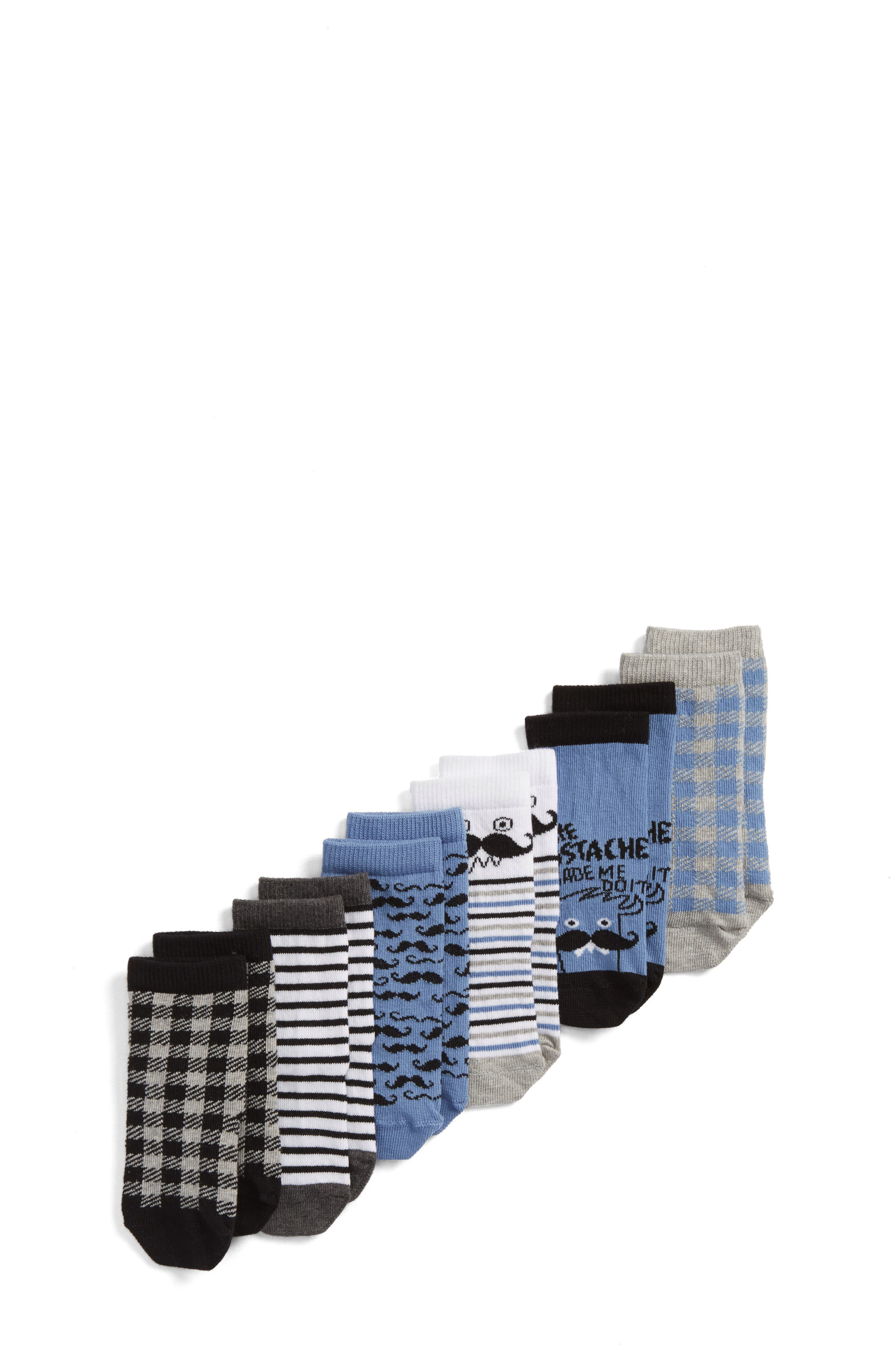 Mustache 6-Pack Crew Socks,                         Main,                         color, BLUE CHAMBRAY