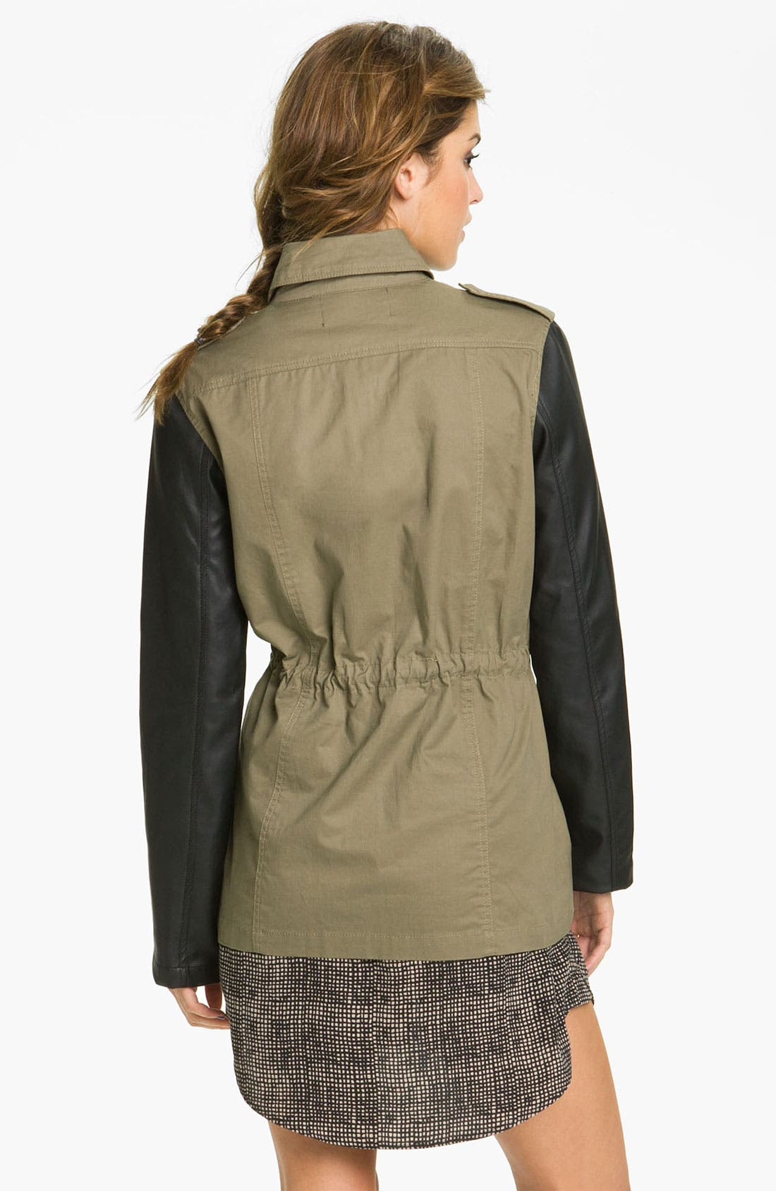BLU PEPPER,                             Faux Leather Sleeve Utility Jacket,                             Alternate thumbnail 4, color,                             331