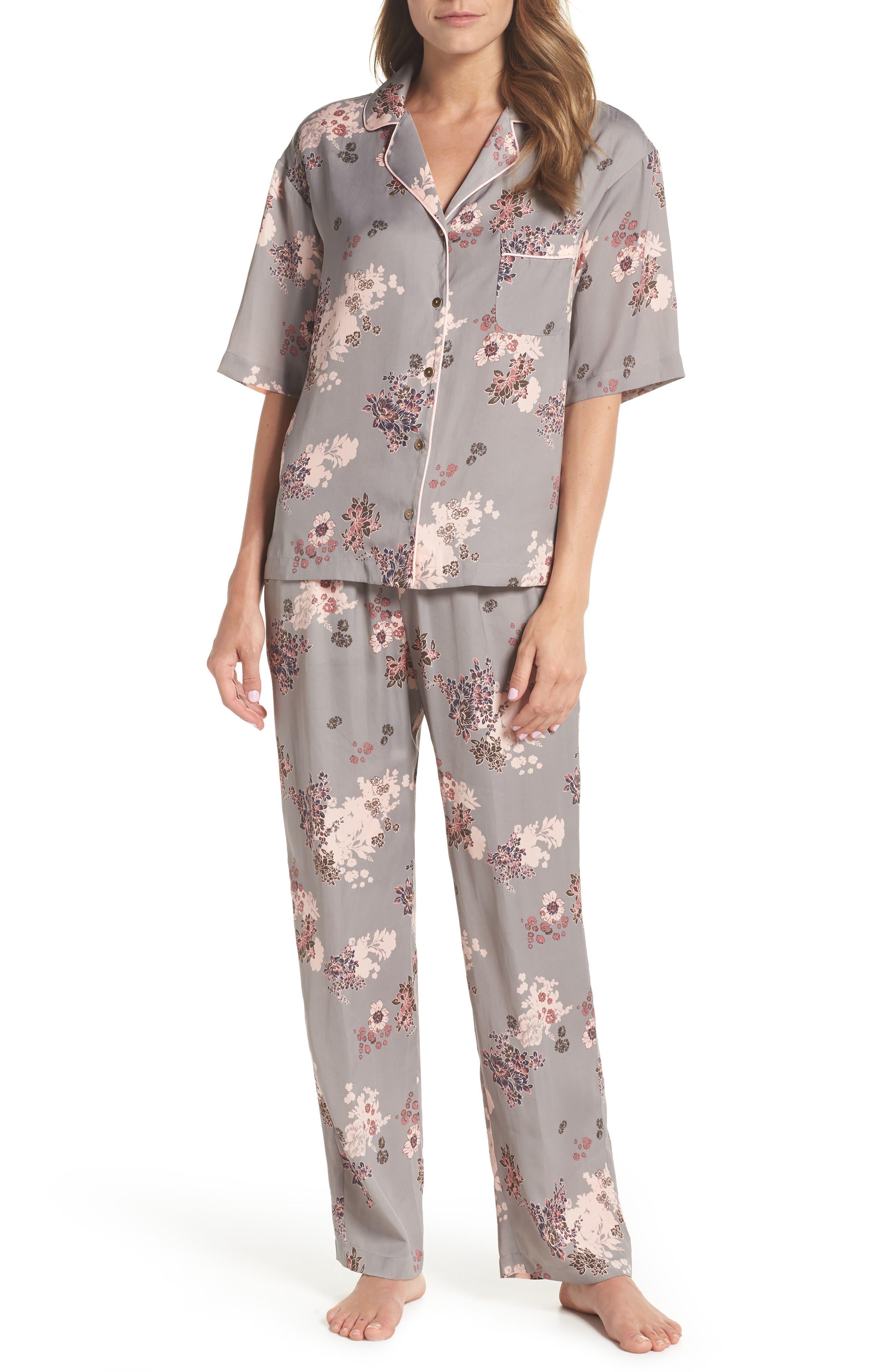 NORDSTROM LINGERIE,                             Matte Satin Pajamas,                             Main thumbnail 1, color,                             030