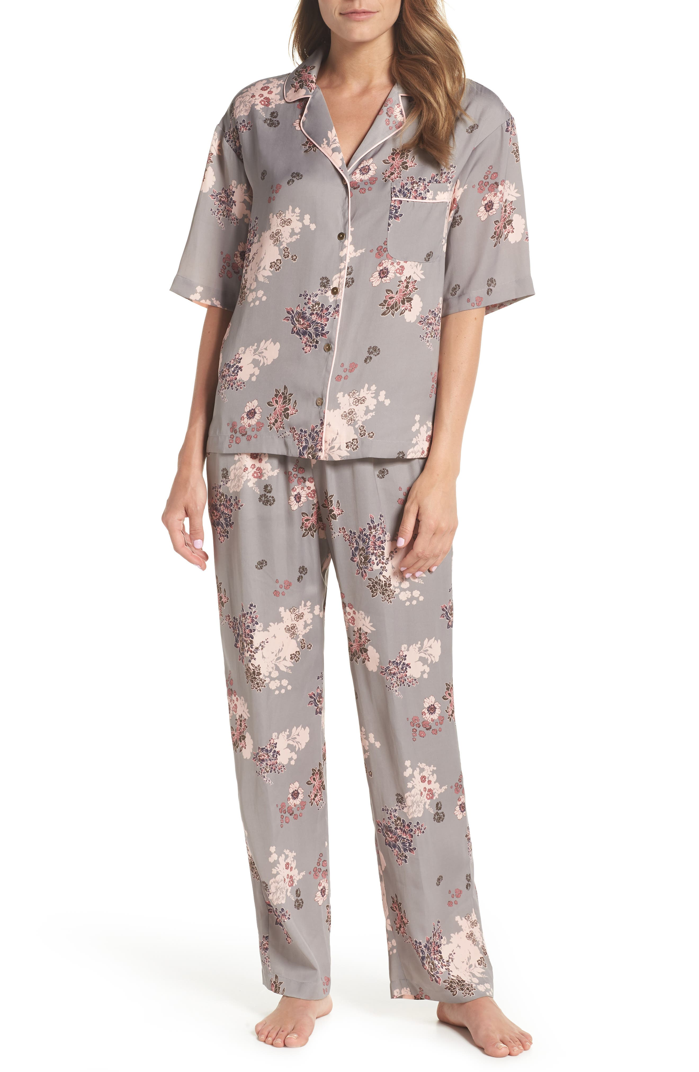 NORDSTROM LINGERIE Matte Satin Pajamas, Main, color, 030
