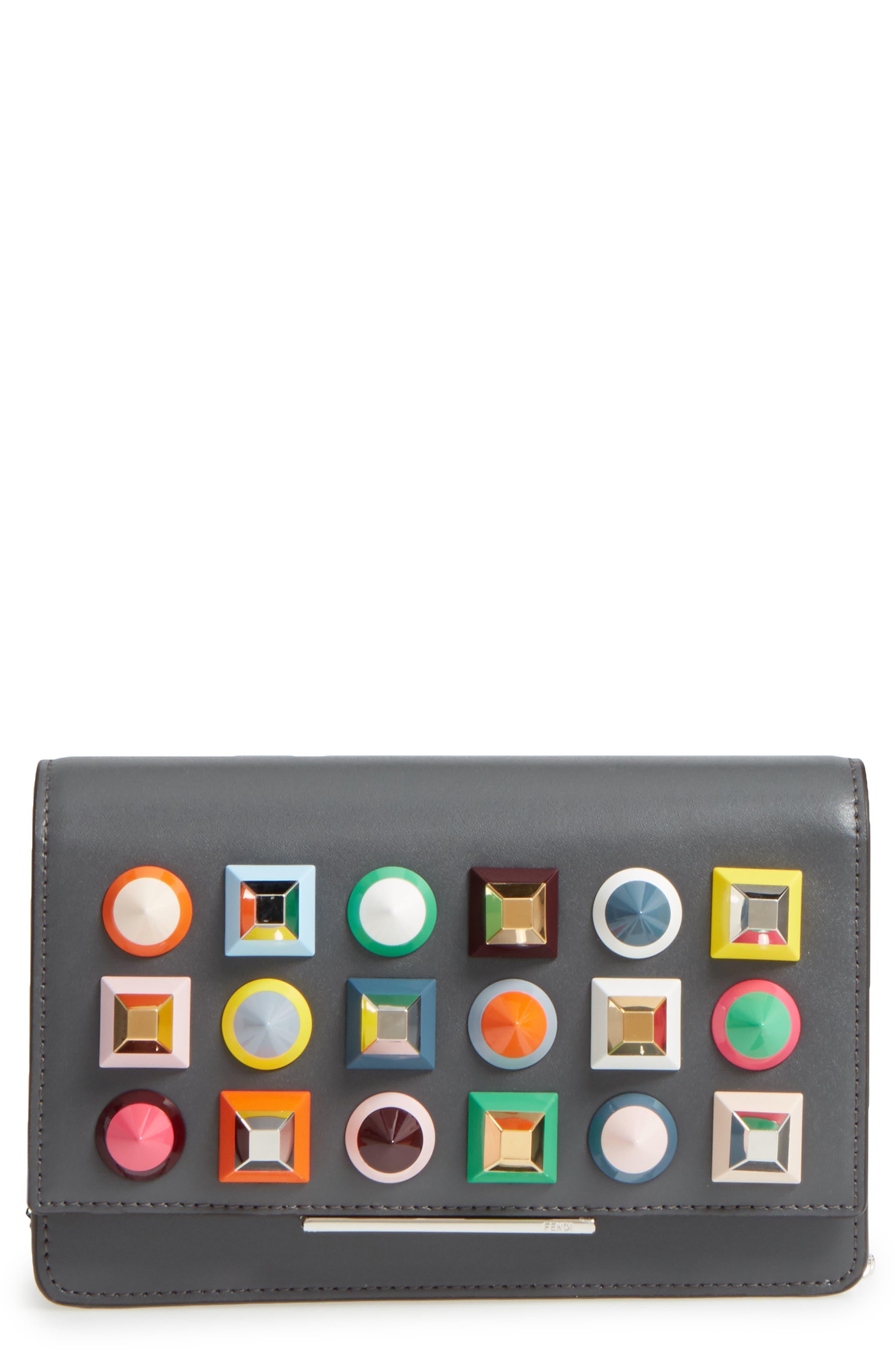 Rainbow Studded Leather Tube Wallet on a Chain,                             Main thumbnail 1, color,                             086