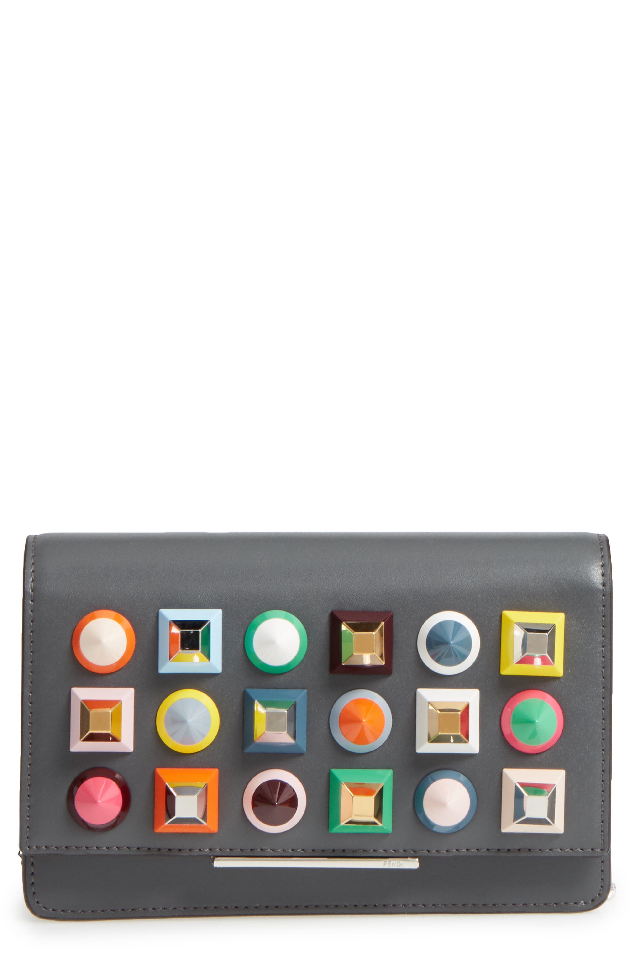 Rainbow Studded Leather Tube Wallet on a Chain,                         Main,                         color, 086