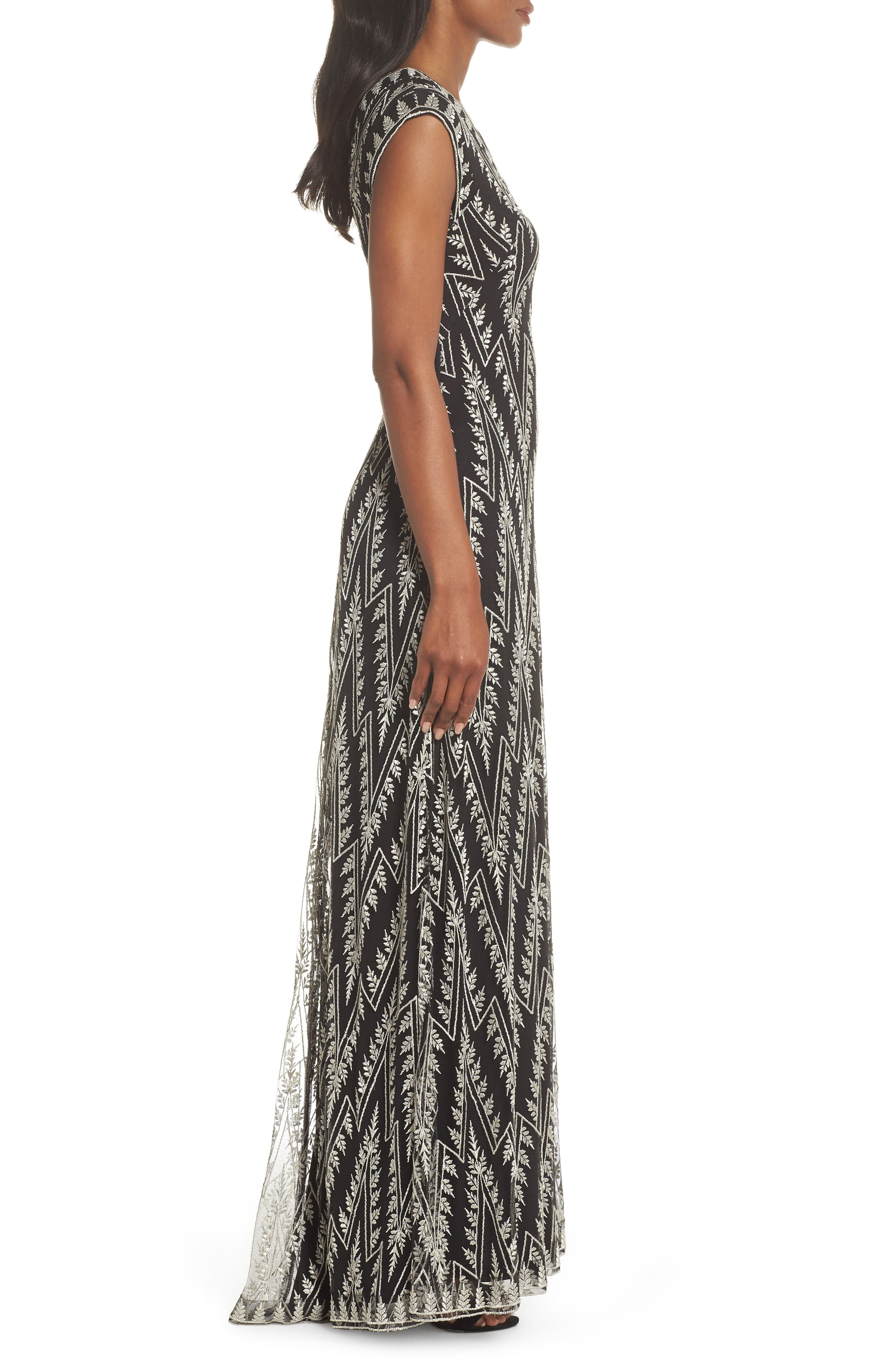 Embroidered V-Neck Gown,                             Alternate thumbnail 3, color,                             BLACK/ SILVER