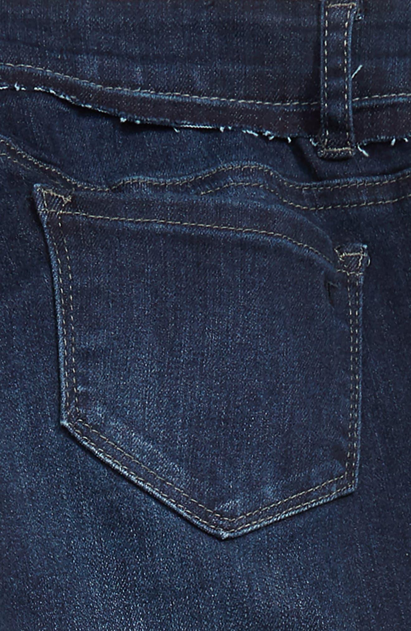Distressed Frayed Bite Hem Skinny Jeans,                             Alternate thumbnail 3, color,                             DARK INDIGO