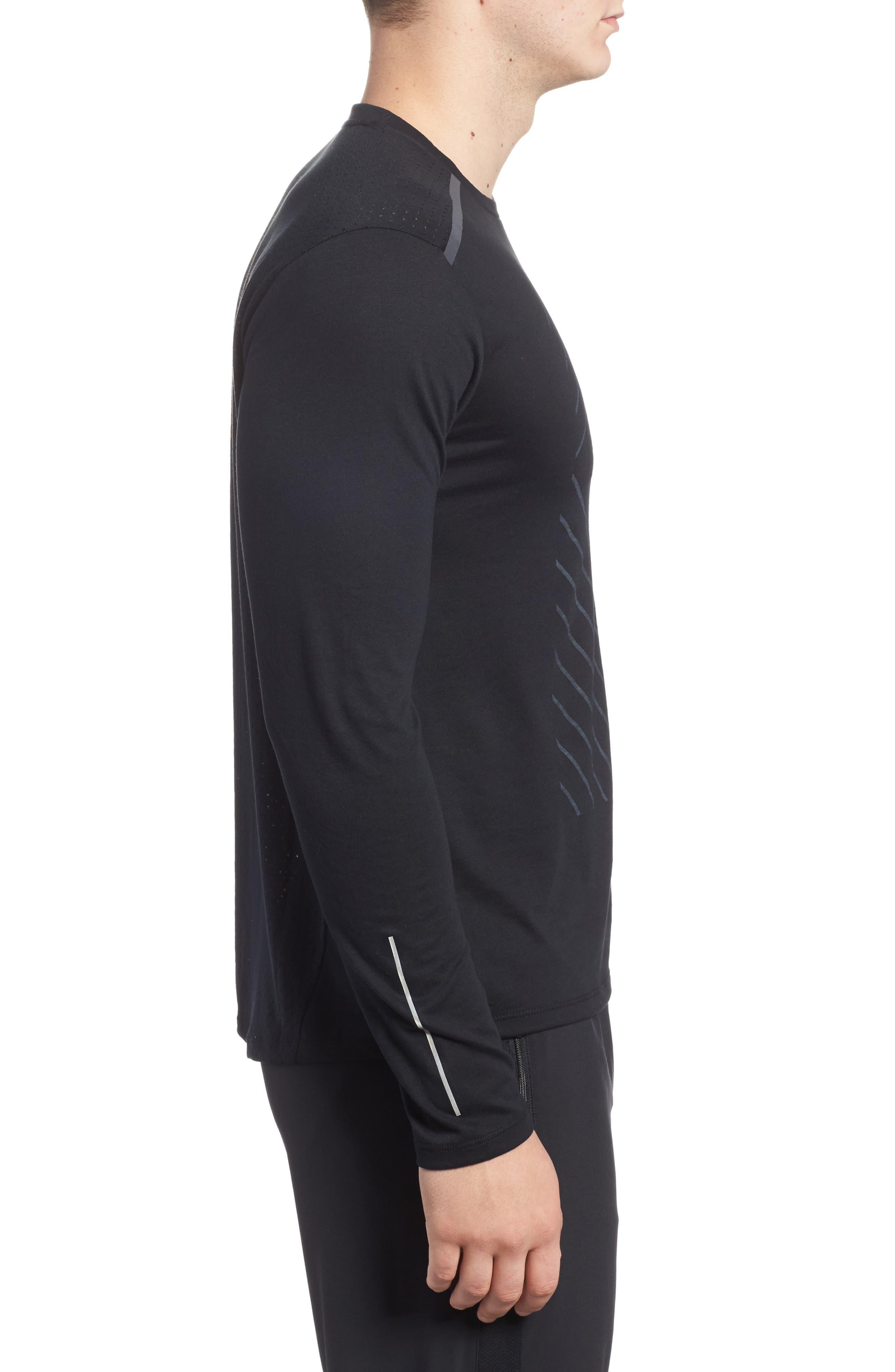 Tailwind Long Sleeve Running T-Shirt,                             Alternate thumbnail 3, color,                             010