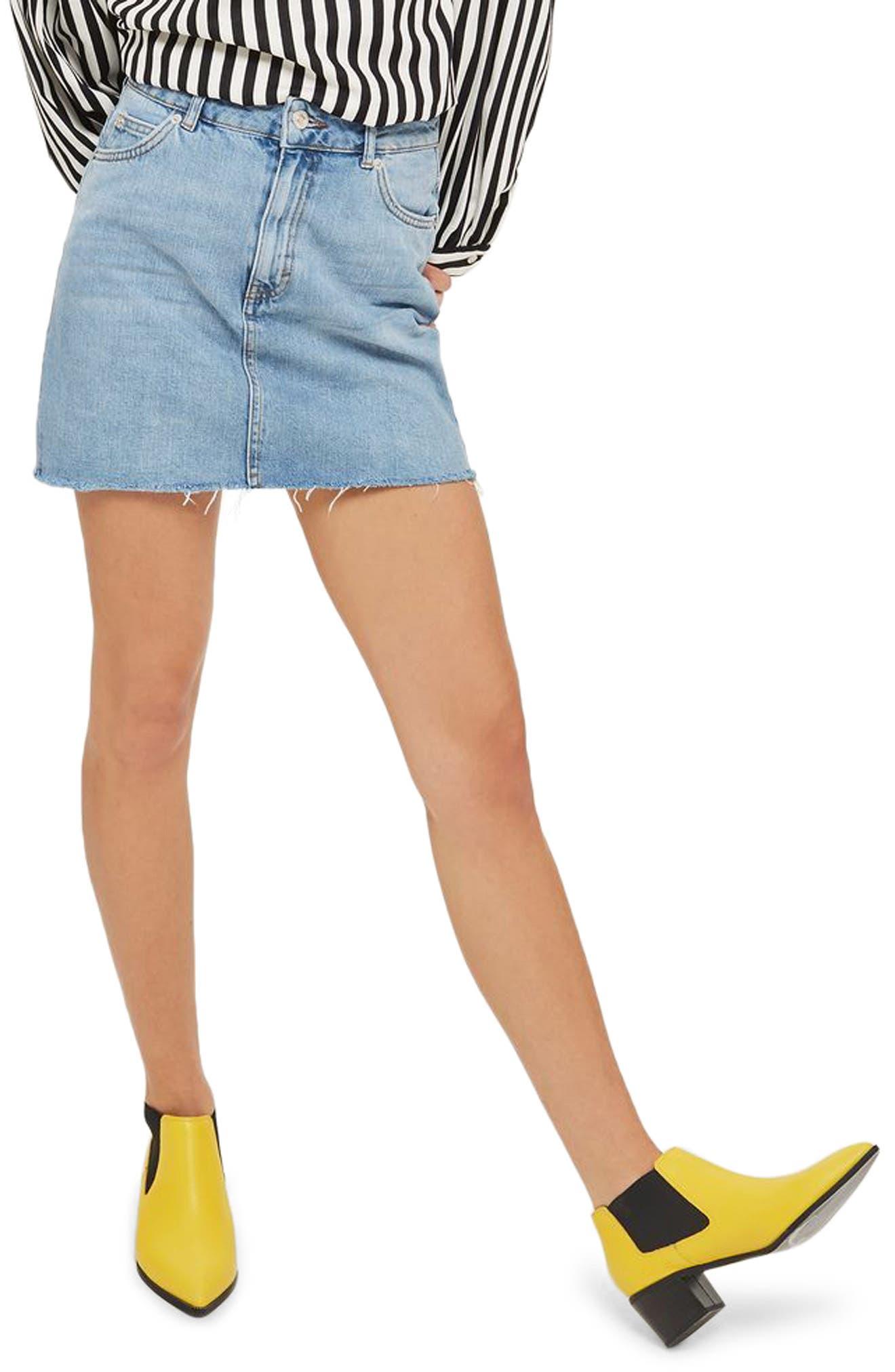 Frayed Hem Denim Miniskirt,                             Main thumbnail 3, color,