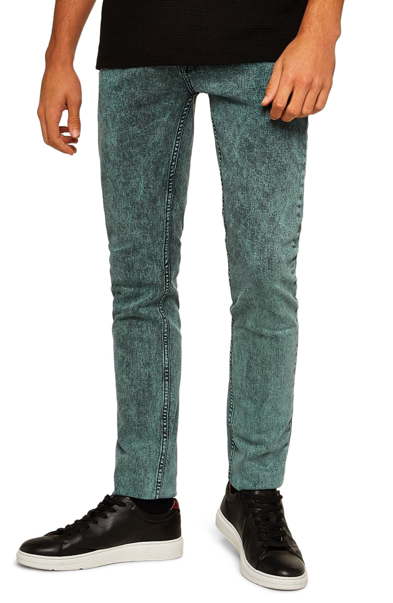 Acid Wash Stretch Skinny Jeans,                         Main,                         color, BLUE/GREEN MULTI