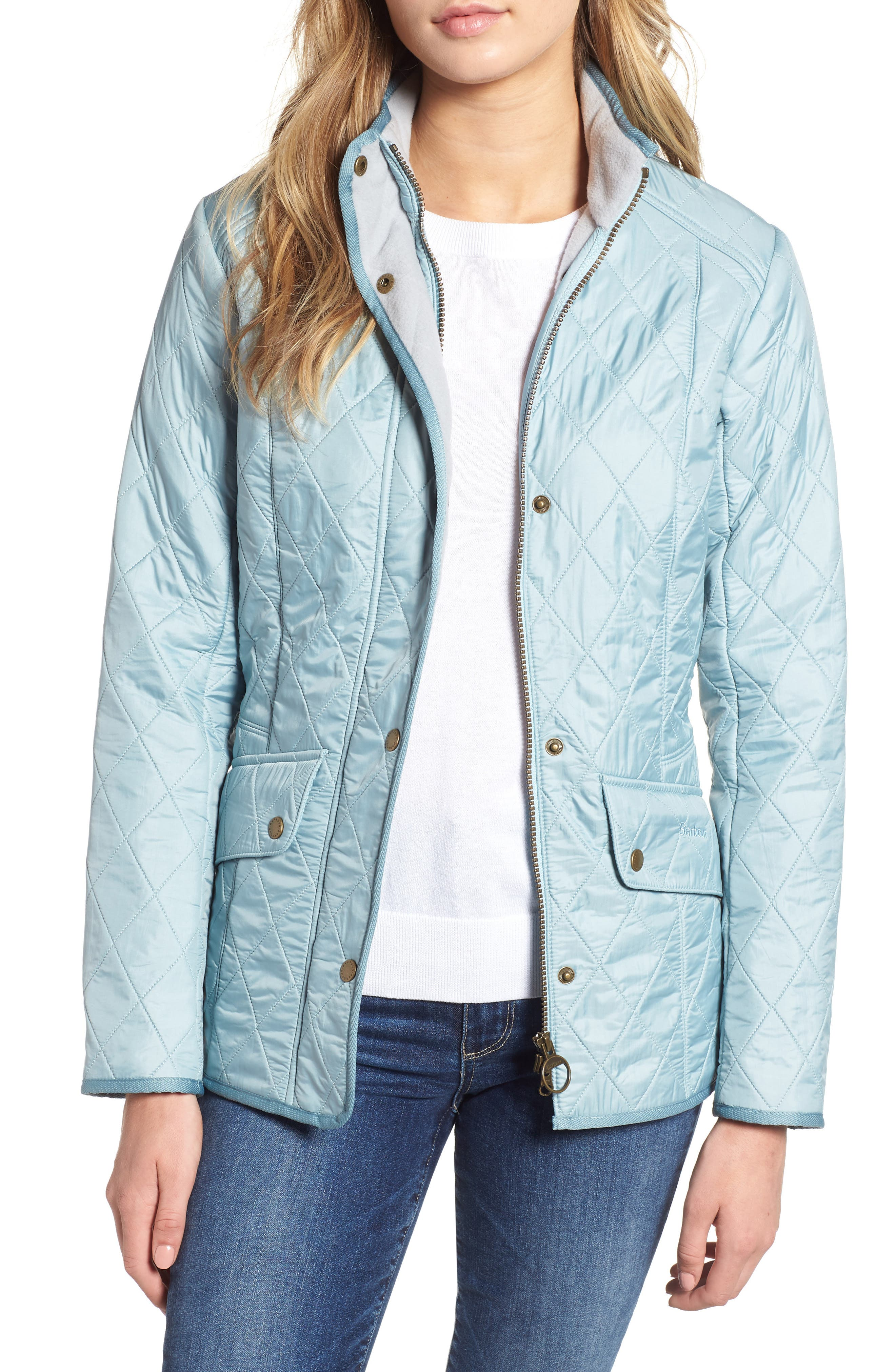 'Cavalry' Quilted Jacket, Main, color, LIGHT AQUA