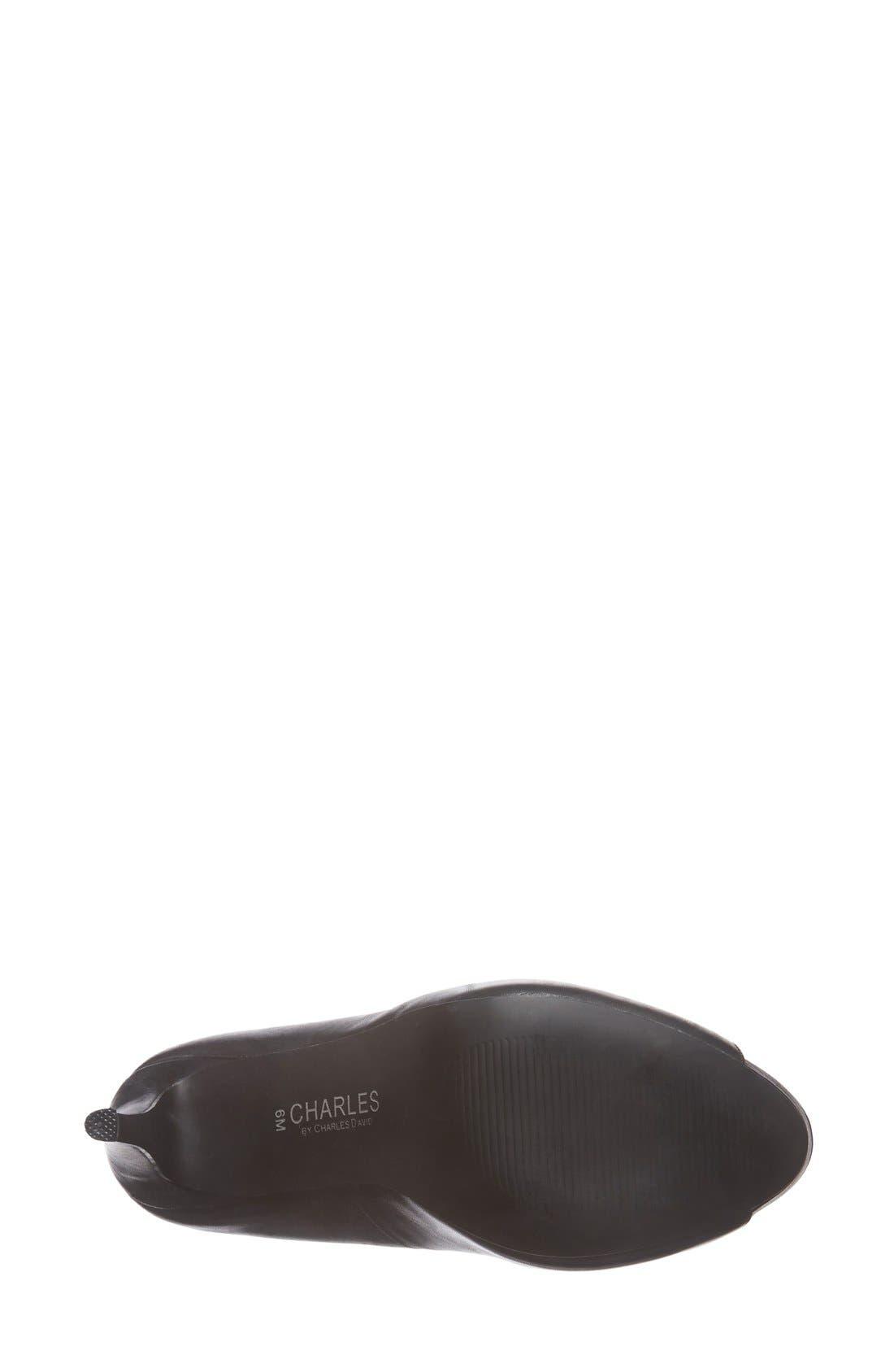 'Fox' Platform Peep Toe Pump,                             Alternate thumbnail 4, color,                             001