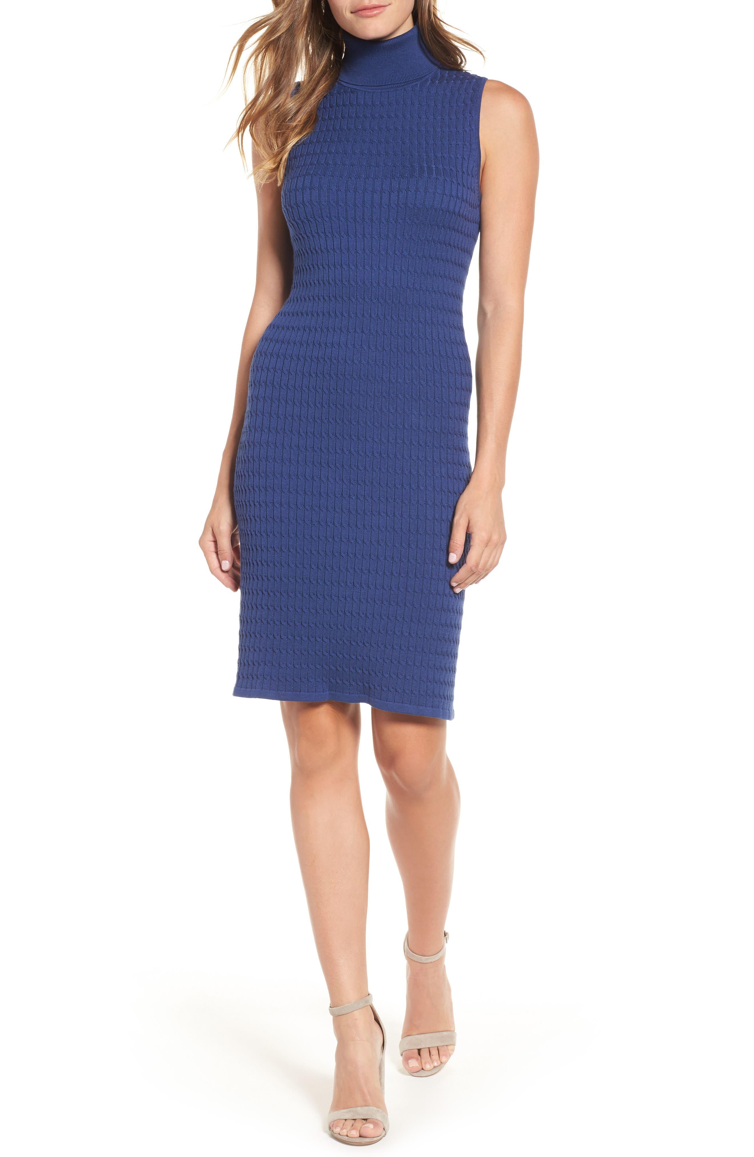 Sleeveless Turtleneck Dress,                             Main thumbnail 1, color,                             ECLIPSE
