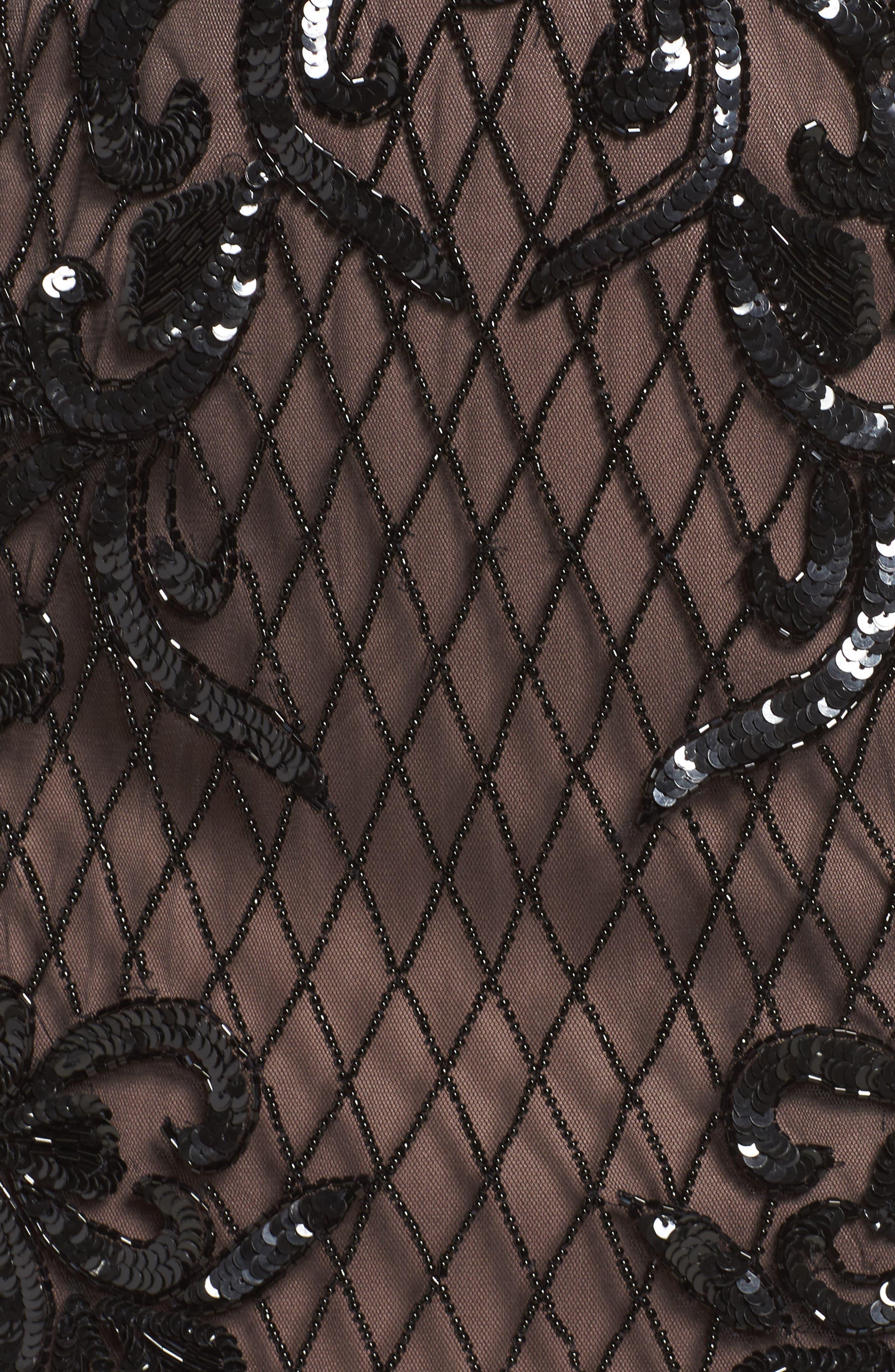 Embellished Blouson Minidress,                             Alternate thumbnail 5, color,                             002