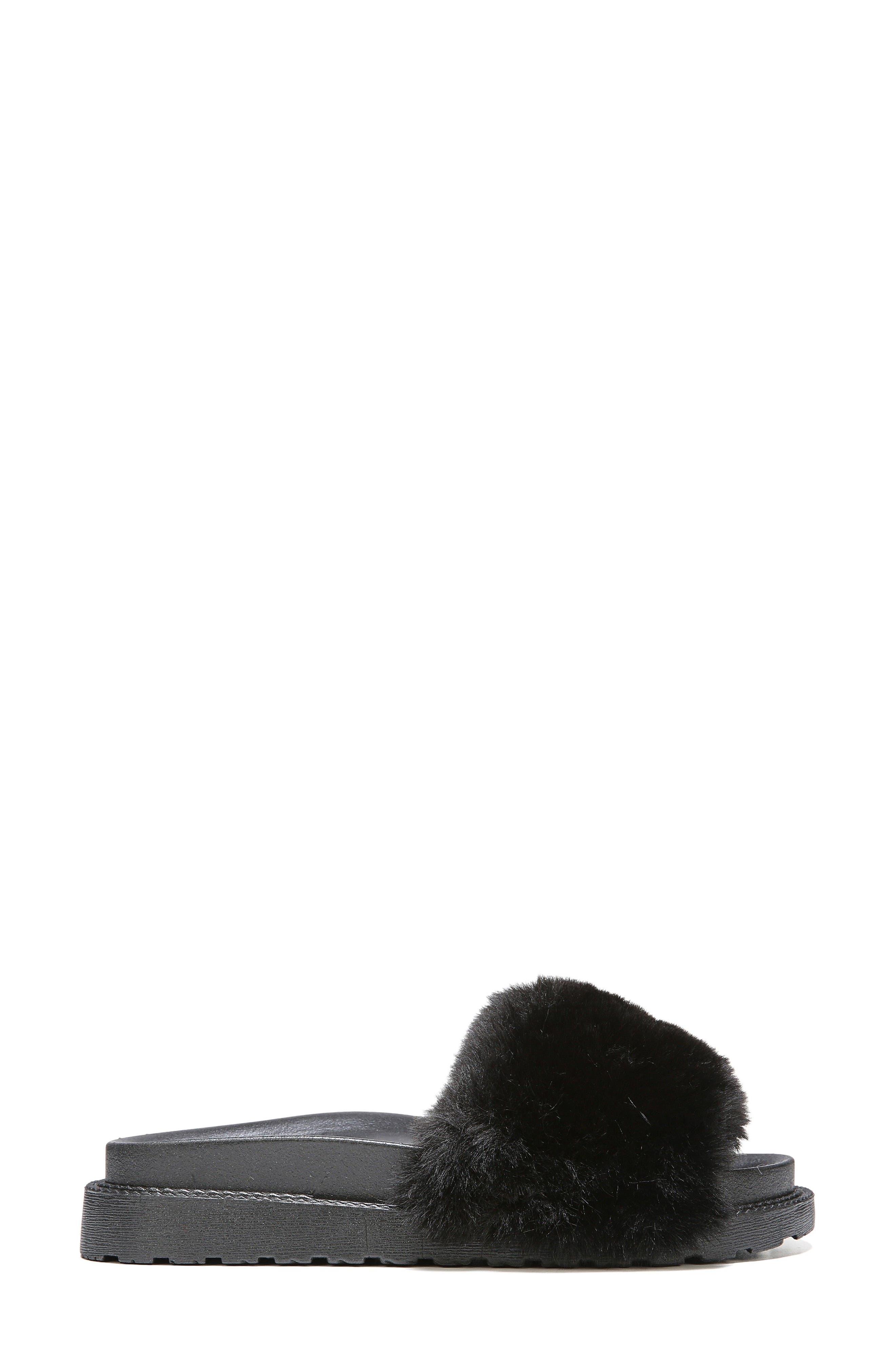 SAM EDELMAN,                             Blaire Faux Fur Platform Slide Sandal,                             Alternate thumbnail 3, color,                             001