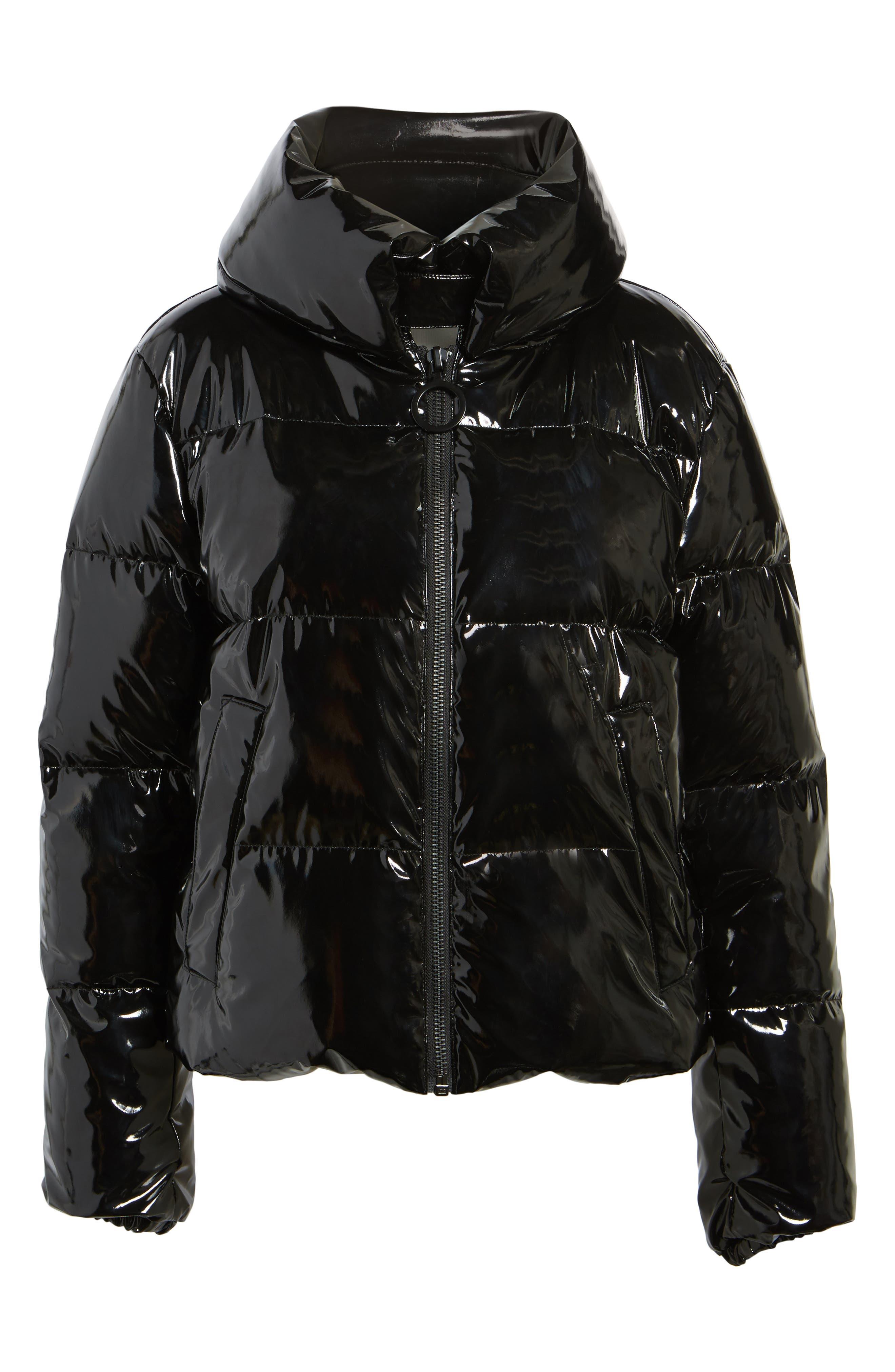 Shiny Puffer Jacket,                             Alternate thumbnail 5, color,                             001