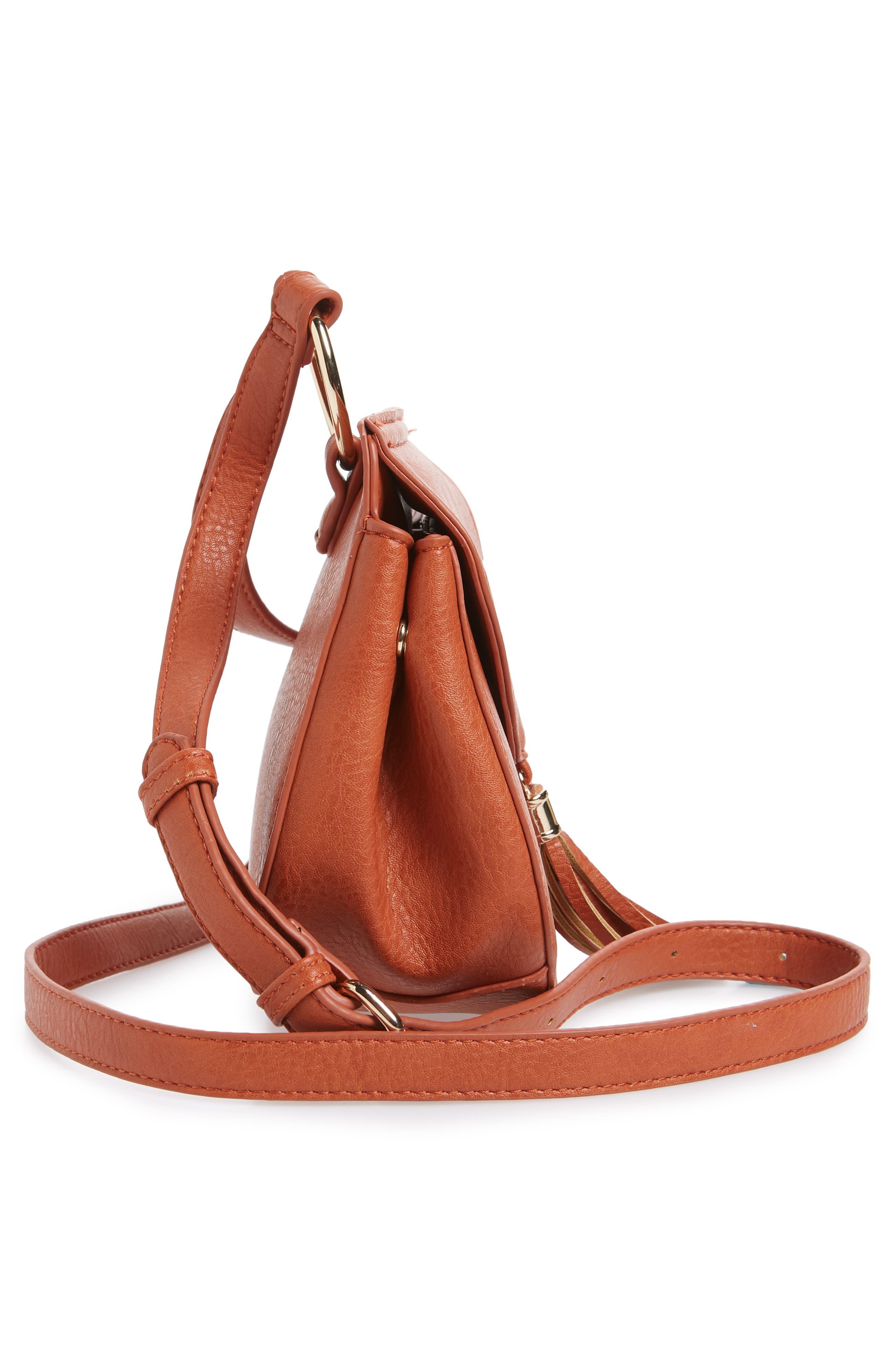 Tassel Faux Leather Crossbody Saddle Bag,                             Alternate thumbnail 10, color,