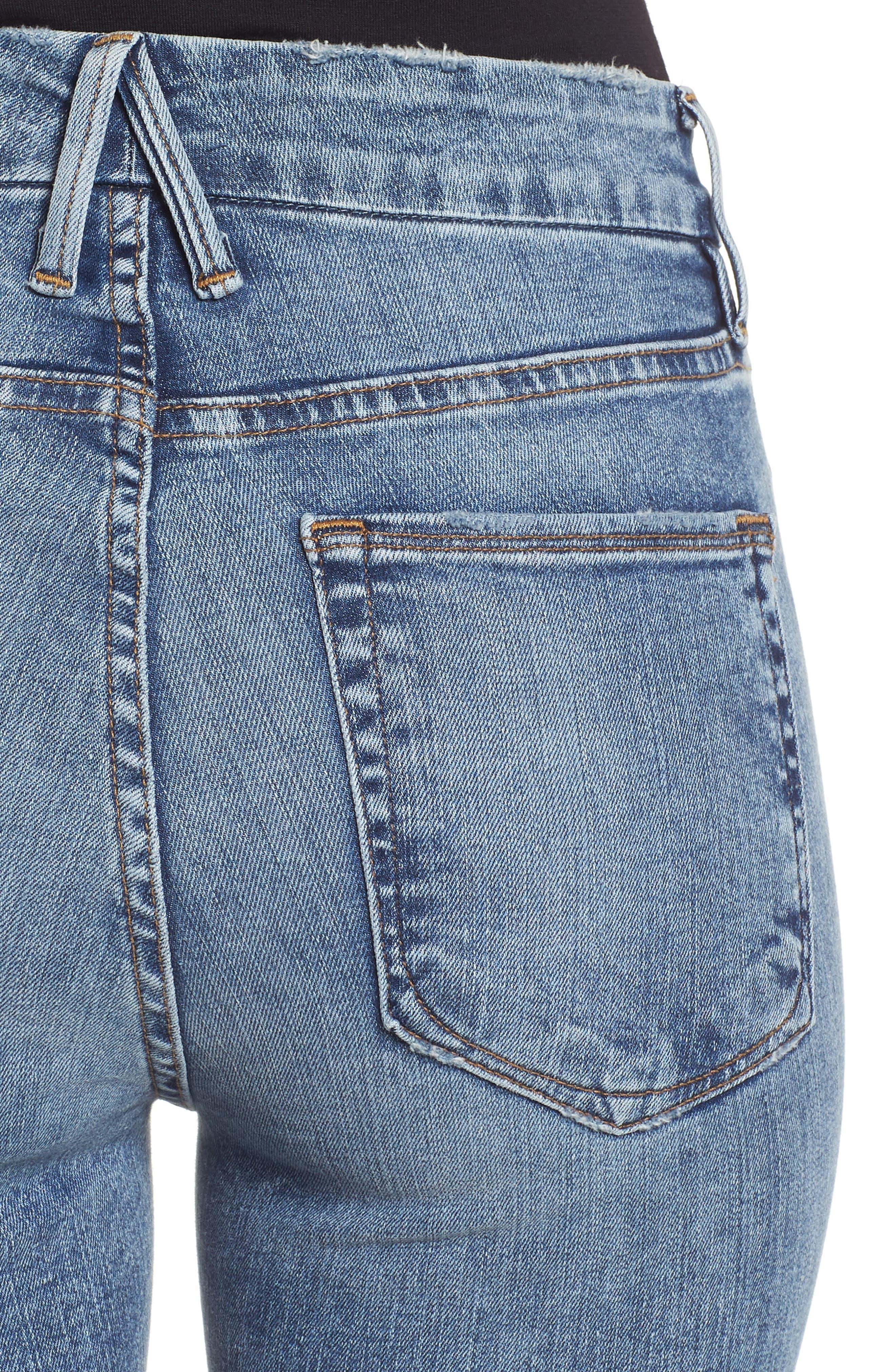 Good Legs Ripped High Waist Skinny Jeans,                             Alternate thumbnail 6, color,                             BLUE129