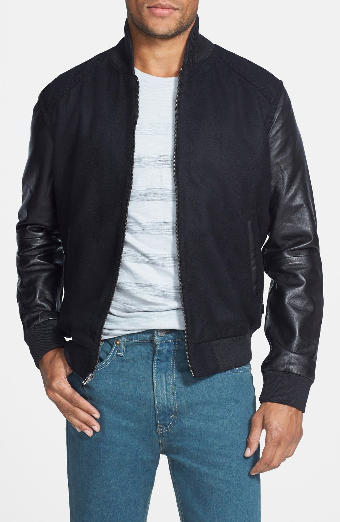 Wool Blend Varsity Jacket with Leather Sleeves, Main, color, 001