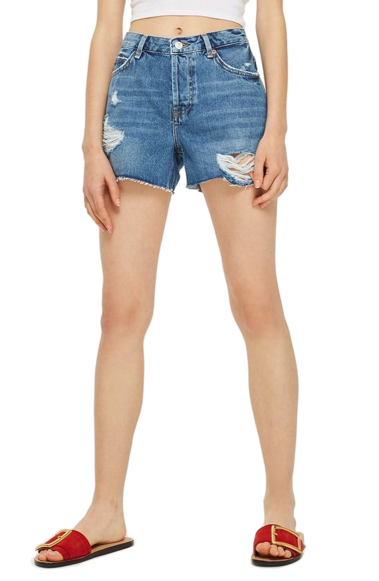 Ashley Ripped Boyfriend Shorts,                         Main,                         color, MID DENIM