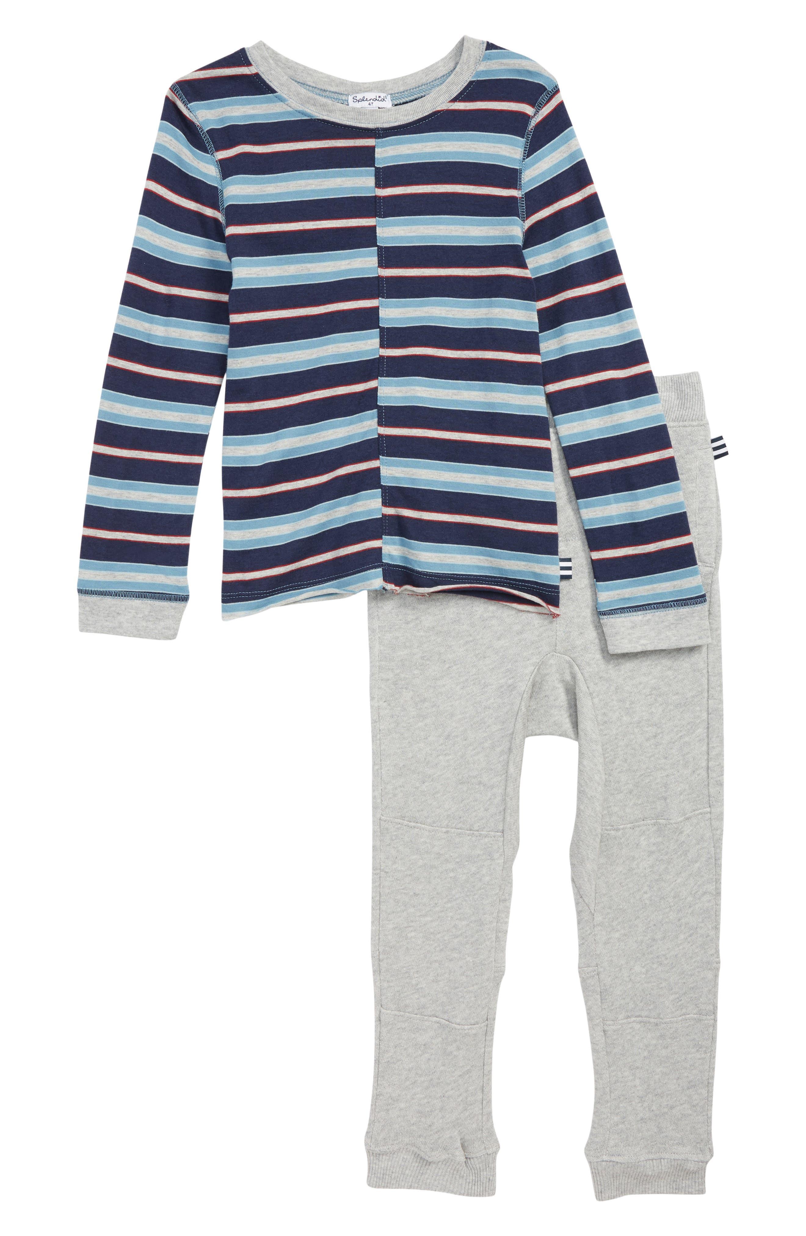 Stripe Top & Sweatpants Set,                             Main thumbnail 1, color,                             LIGHT GREY HEATHER