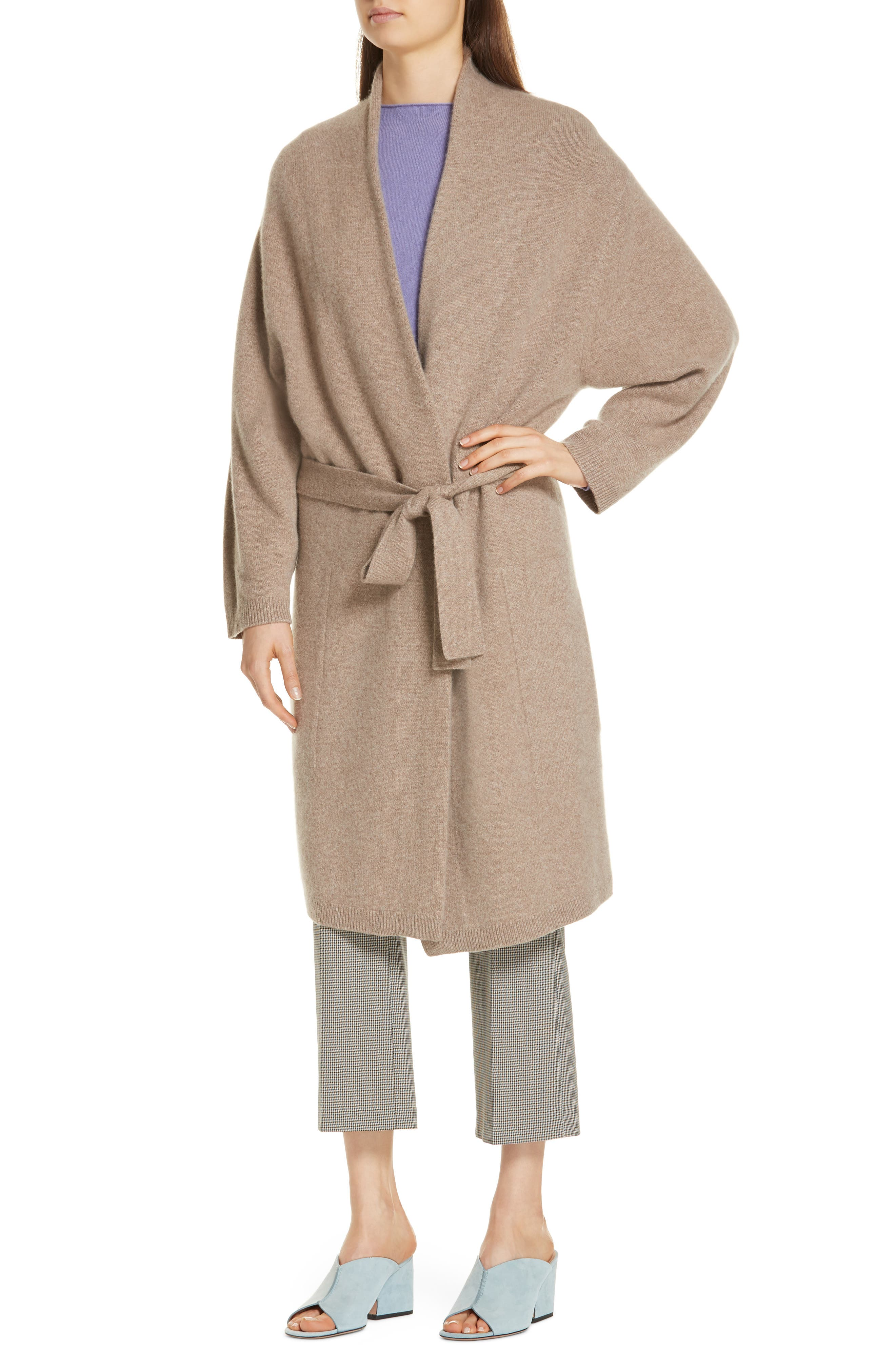 Long Boiled Cashmere Cardigan,                             Alternate thumbnail 4, color,                             GREY TAUPE HEATHER