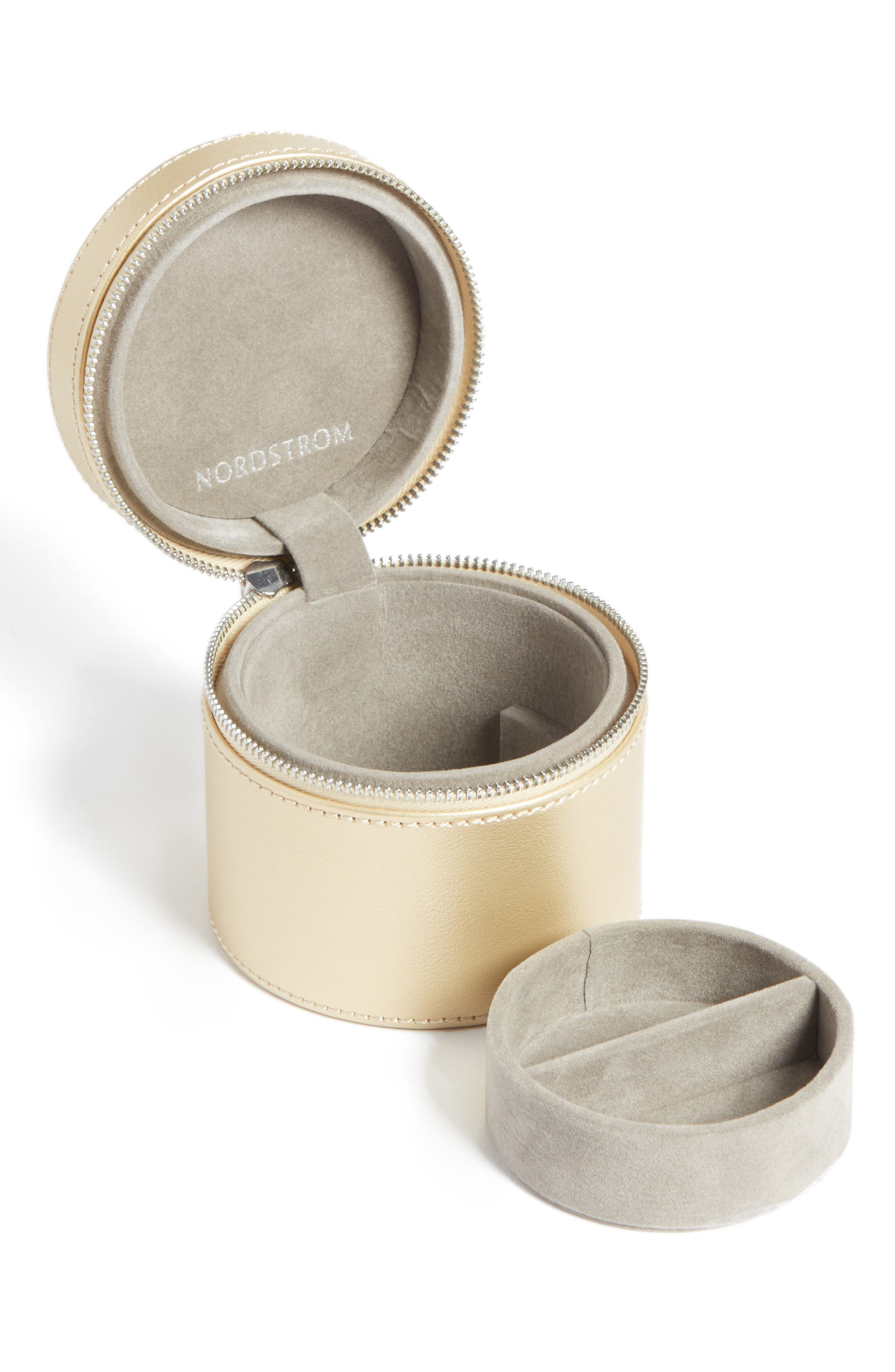 Small Round Zippered Jewelry Case,                             Alternate thumbnail 5, color,
