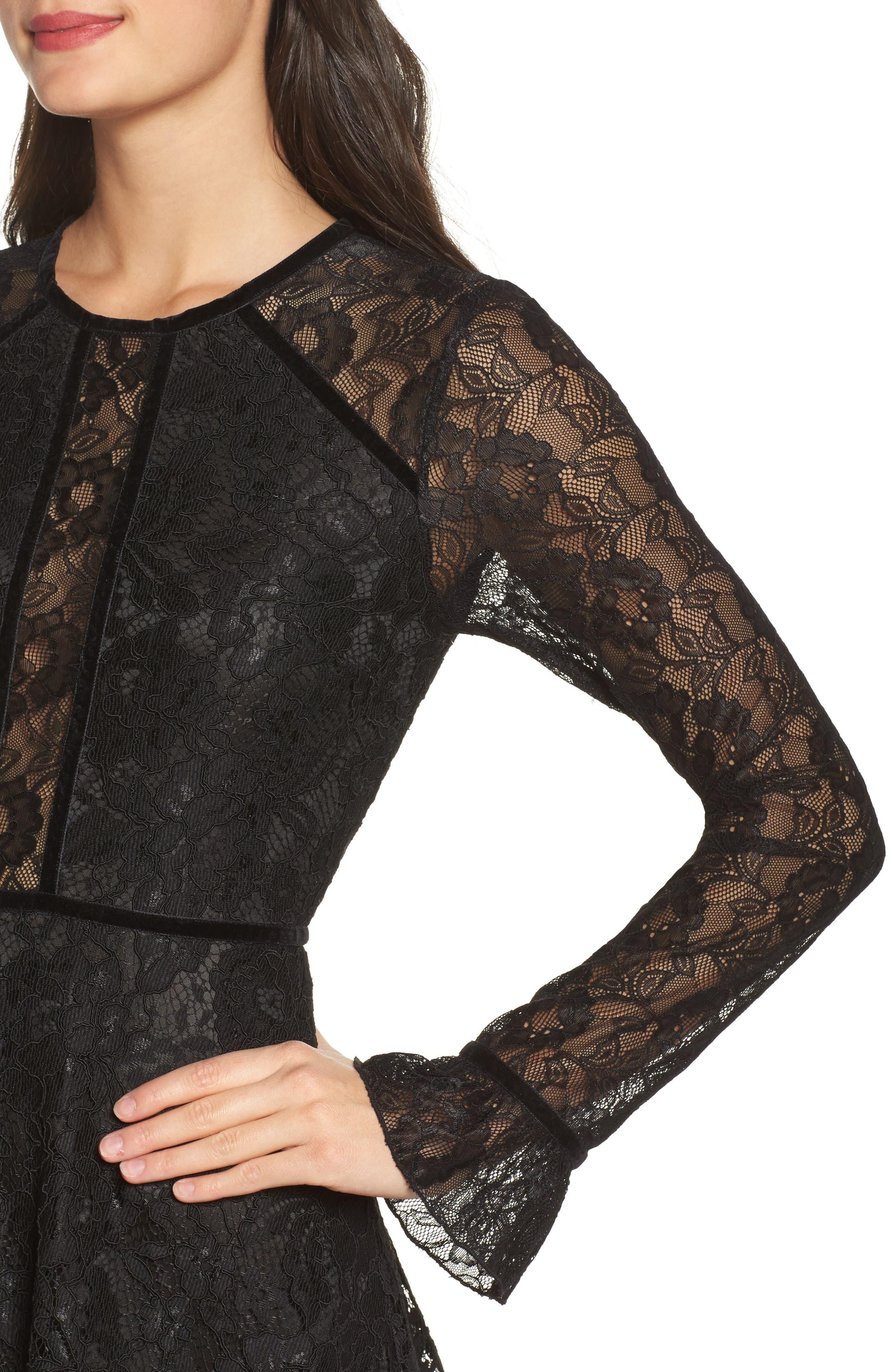 Chantilly Lace Skater Dress,                             Alternate thumbnail 4, color,                             001