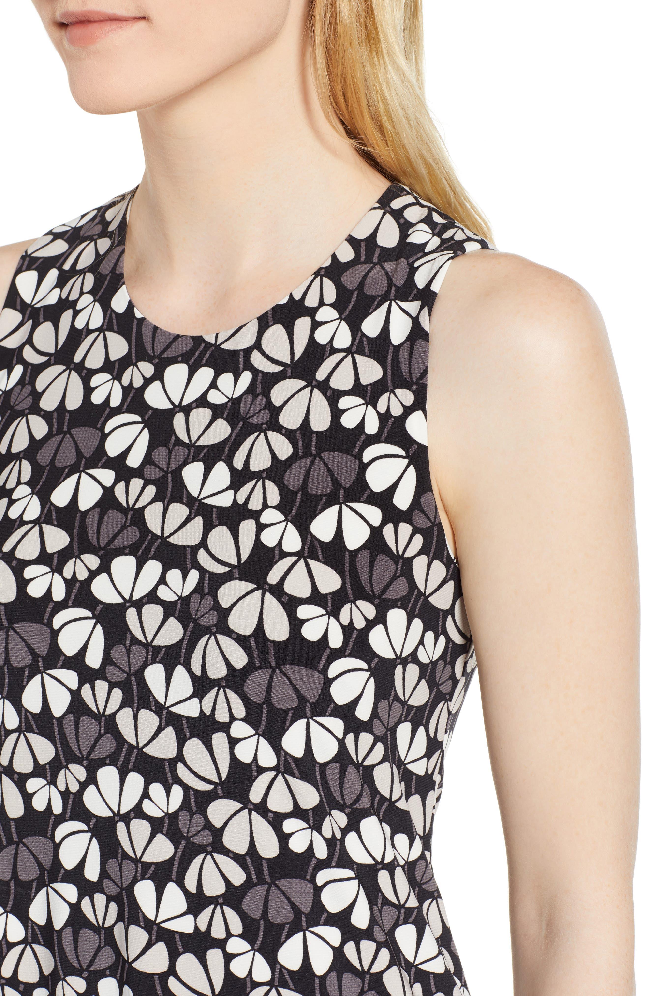 Flowerfall Stretch Knit Swing Dress,                             Alternate thumbnail 4, color,                             001