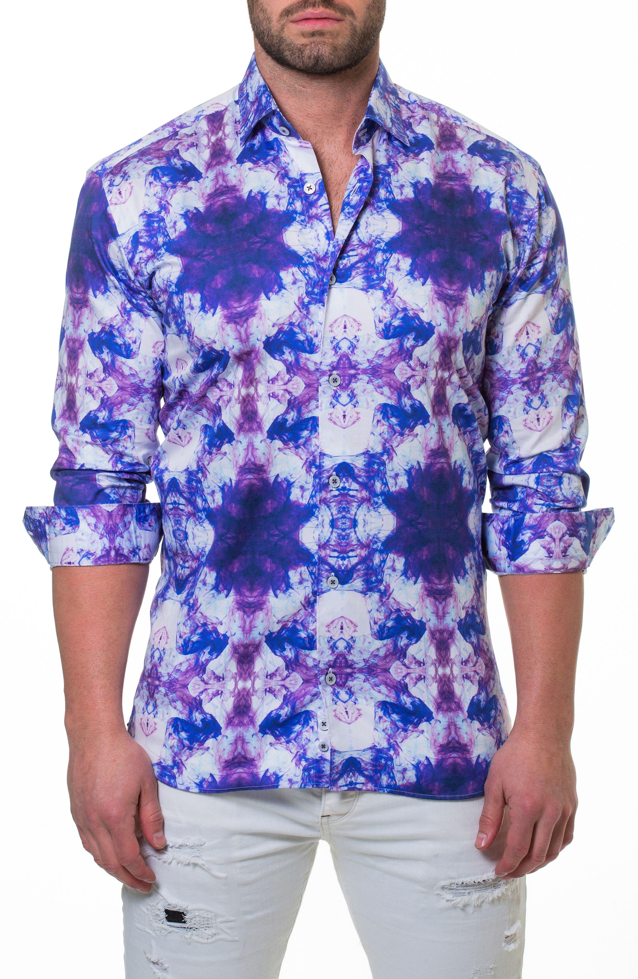 Luxor Smoky Slim Fit Sport Shirt,                             Alternate thumbnail 3, color,                             PURPLE