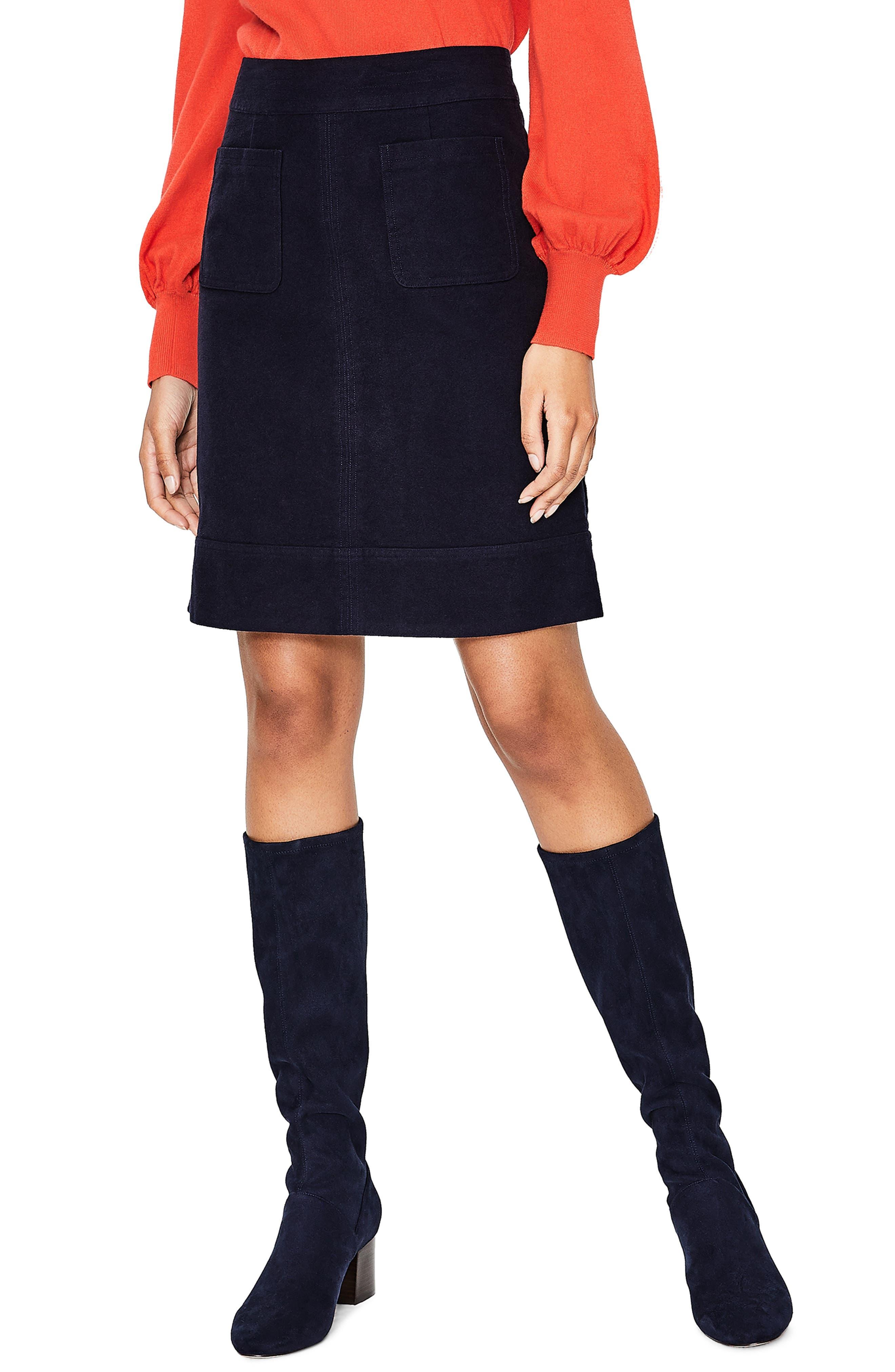 Boden Dorchester Patch Pocket Stretch Cotton Miniskirt, Blue