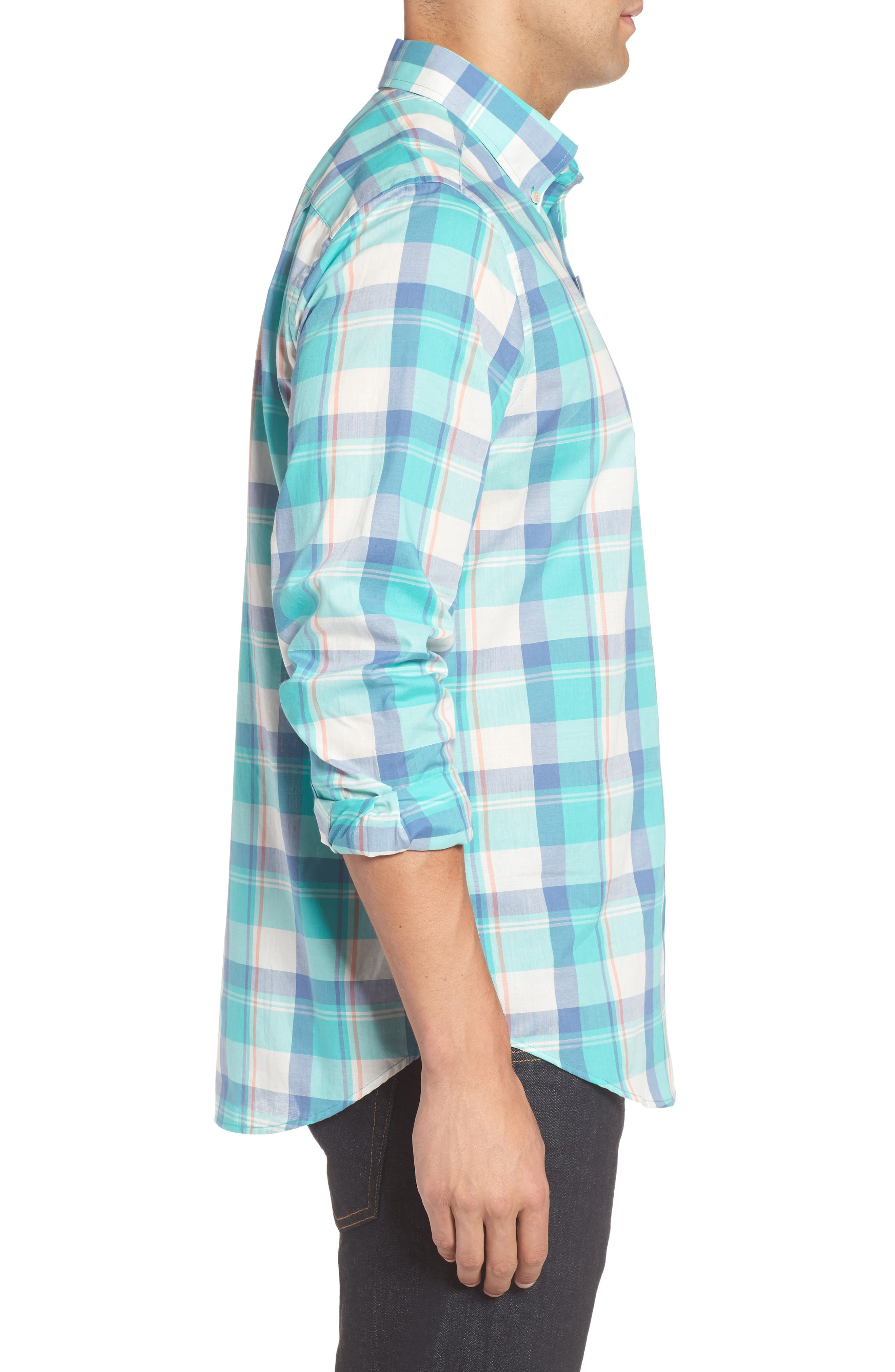 Green Cay Plaid Sport Shirt,                             Alternate thumbnail 3, color,