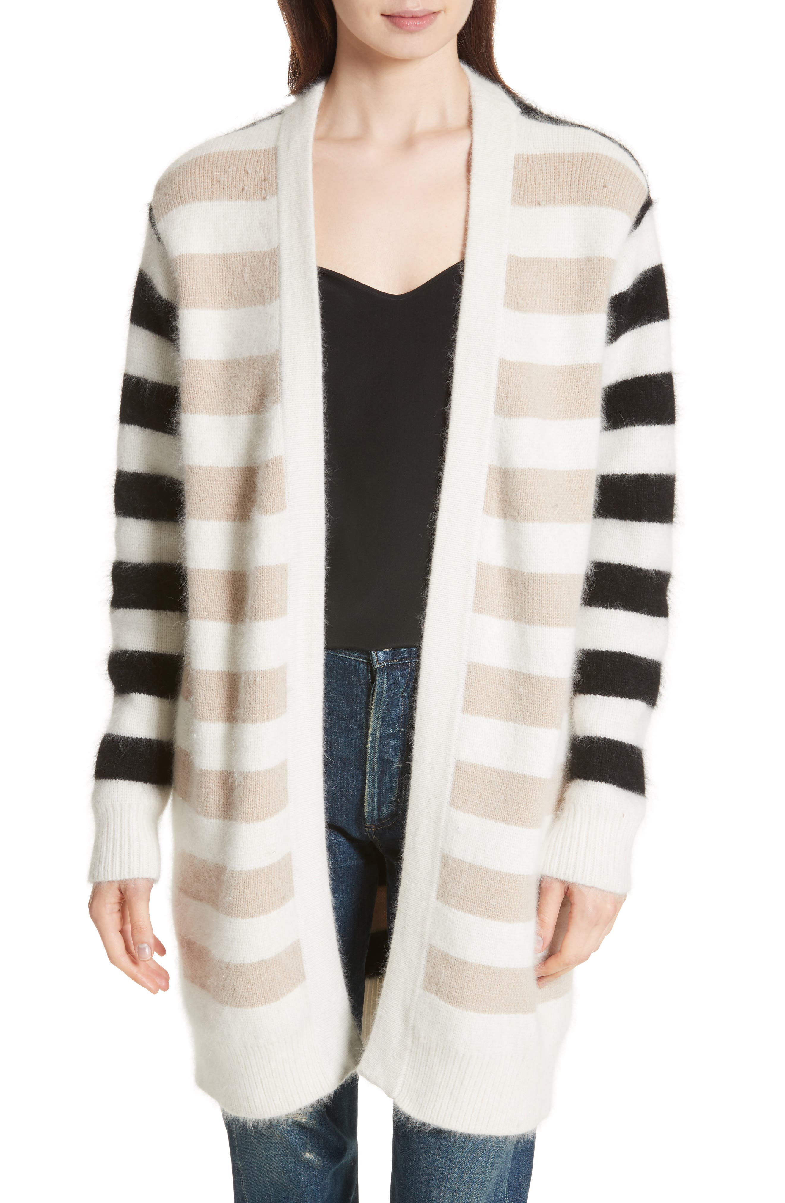 Stripe Oversize Cardigan,                             Main thumbnail 1, color,                             001