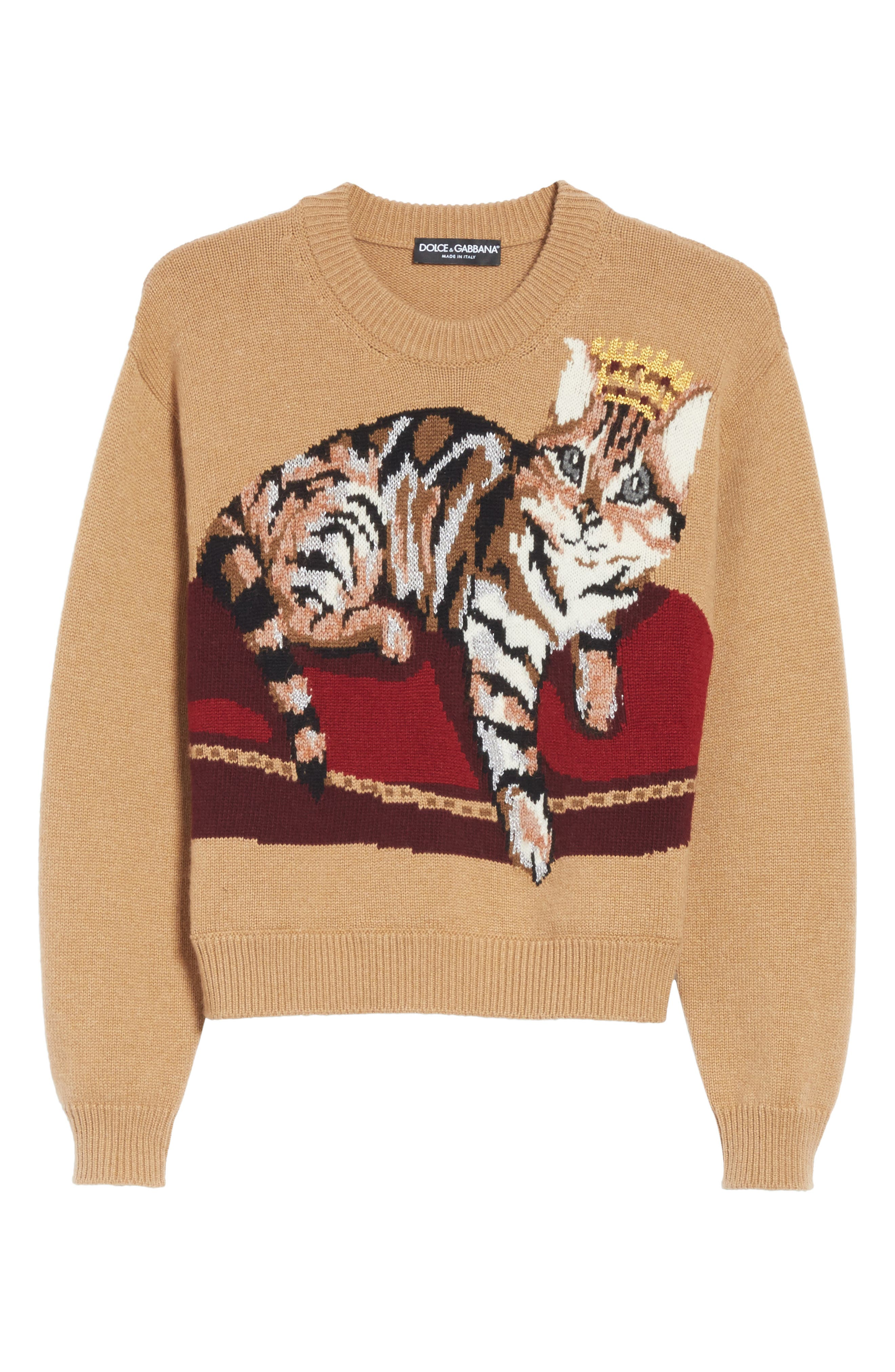 Cat Intarsia Cashmere, Wool & Mohair Blend Sweater,                             Alternate thumbnail 6, color,