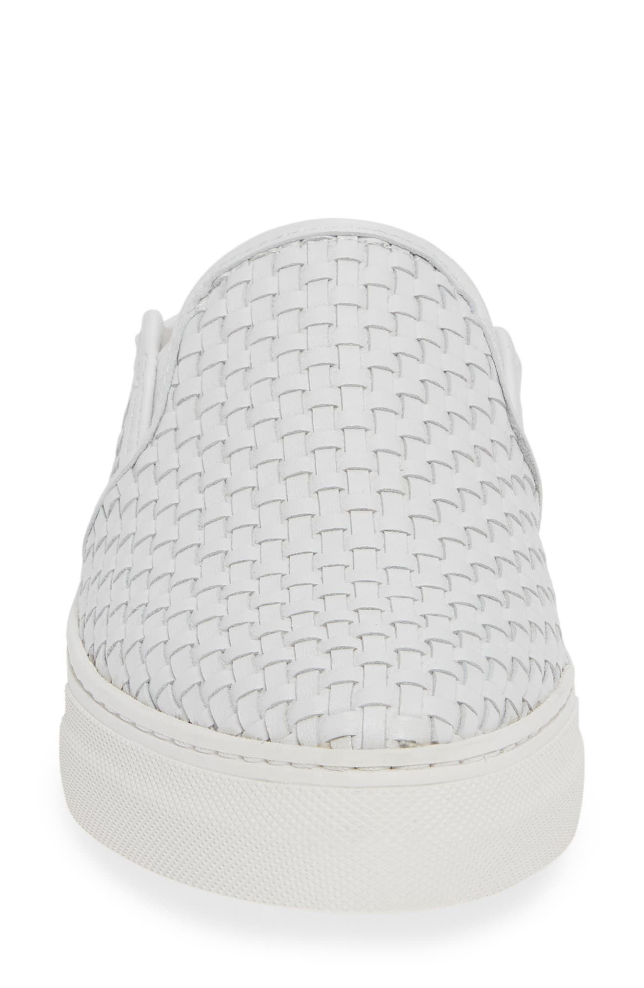 Fiona Woven Mule,                             Alternate thumbnail 4, color,                             WHITE LEATHER