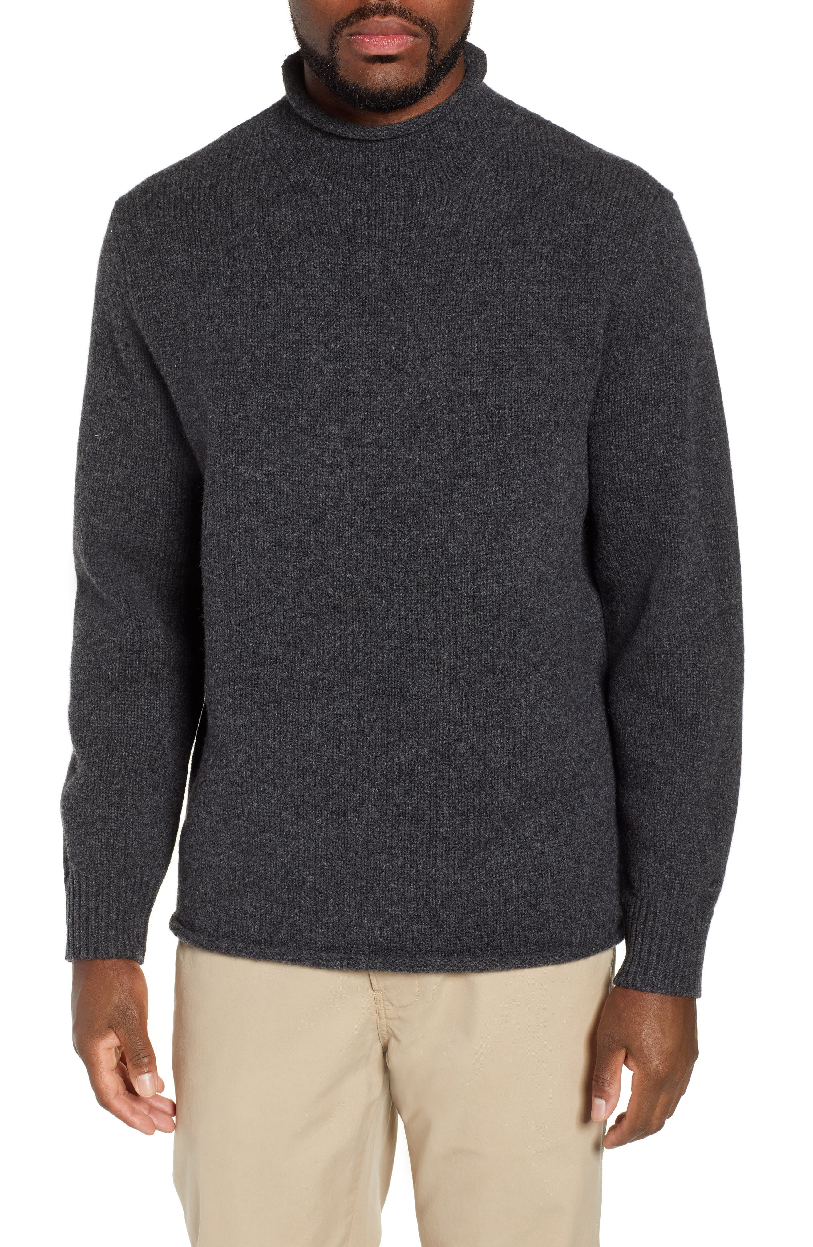 J.crew Relaxed Rollneck(TM) Lambswool Sweater, Grey