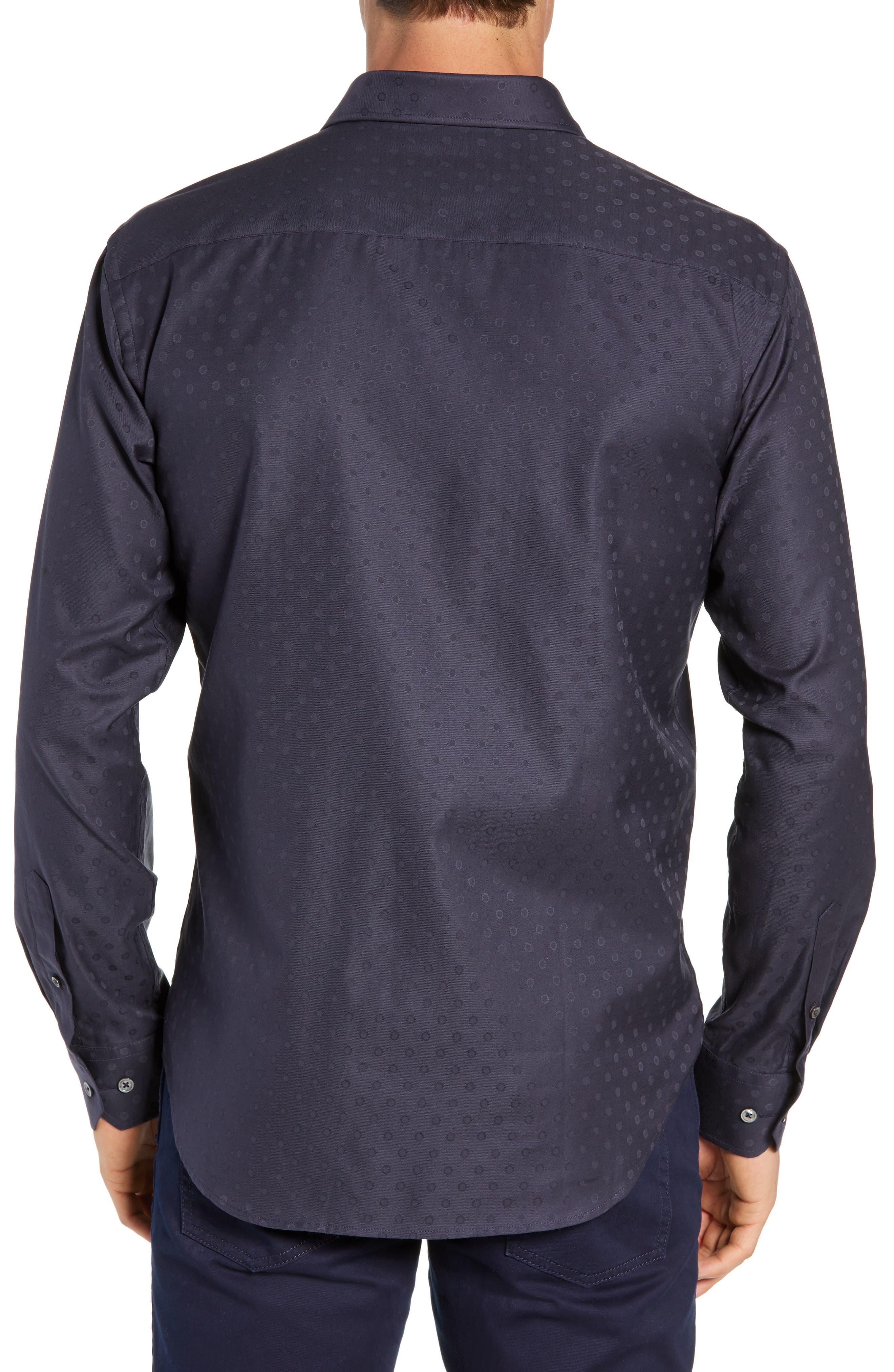 Shaped Fit Print Sport Shirt,                             Alternate thumbnail 3, color,                             NAVY