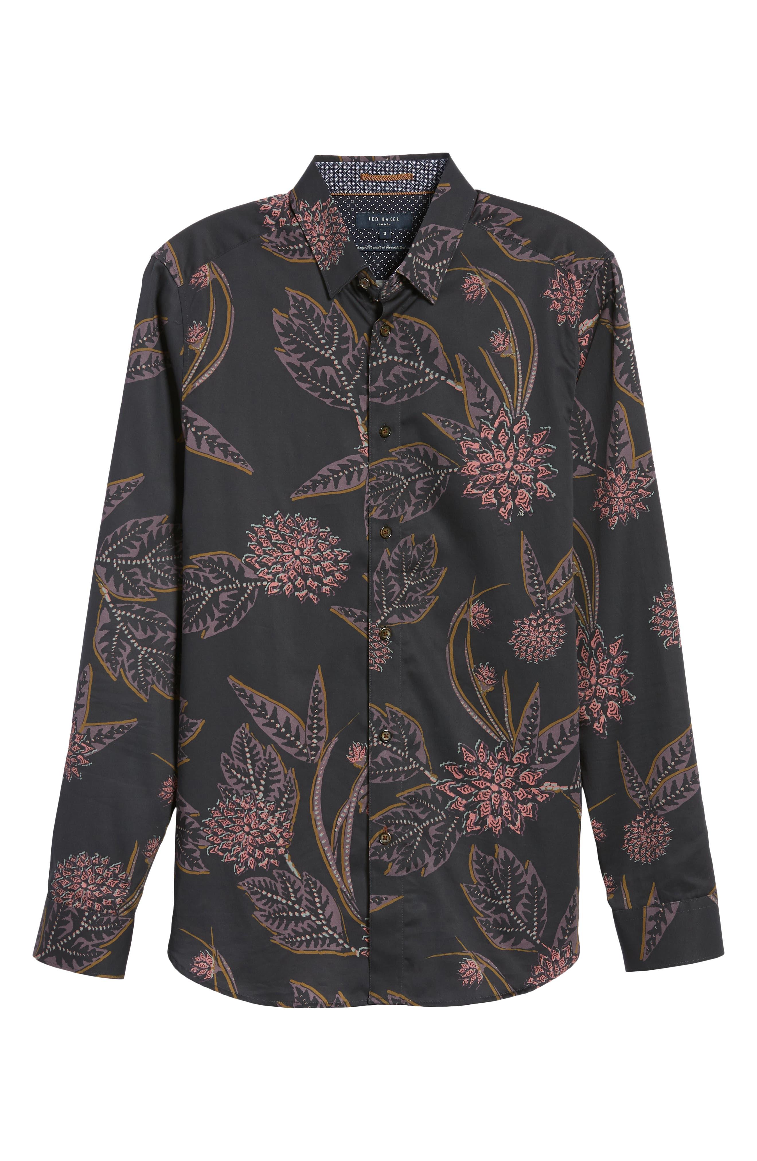 Notting Slim Fit Floral Sport Shirt,                             Alternate thumbnail 5, color,                             NAVY