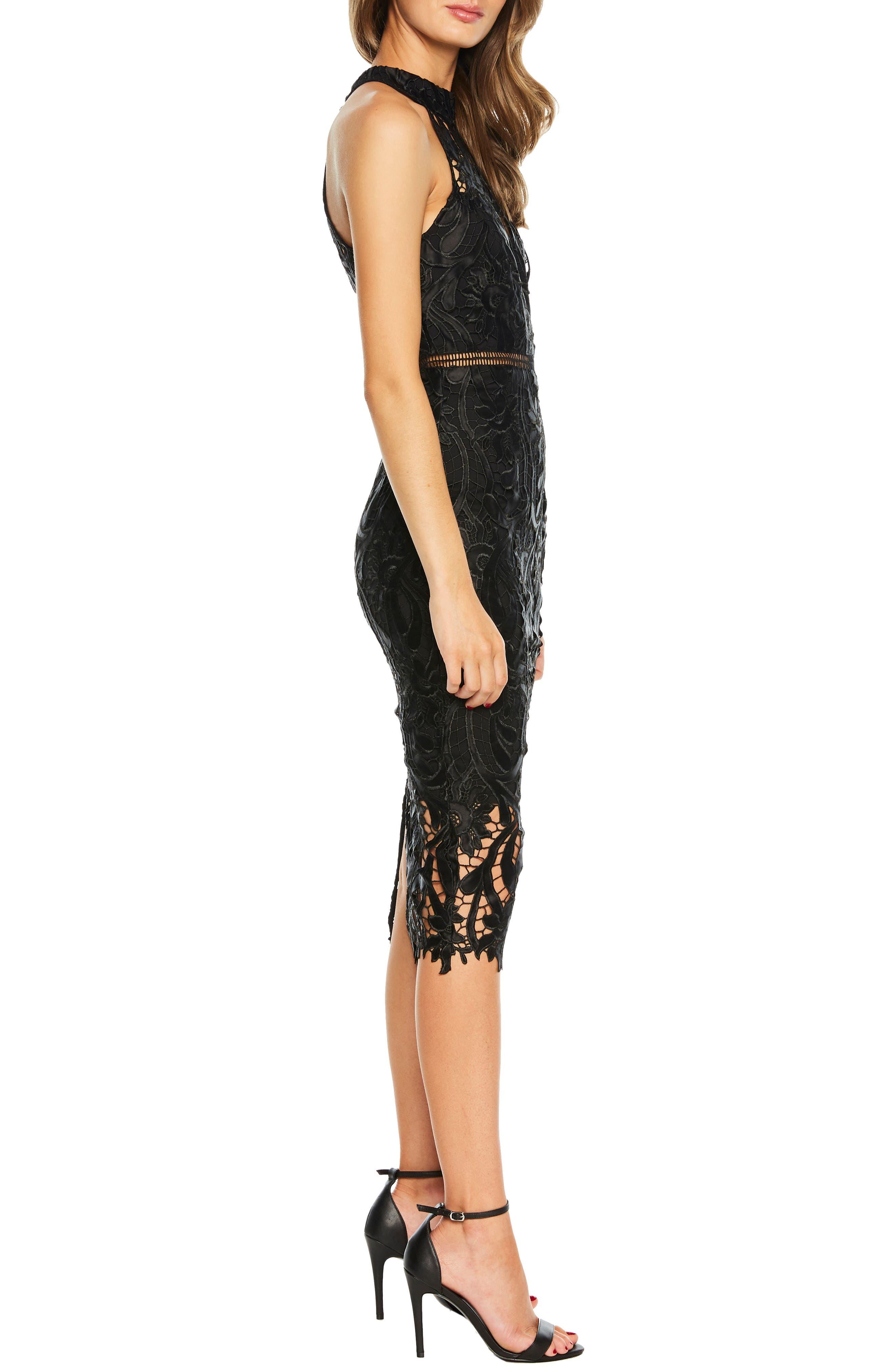 Isa Lace Halter Dress,                             Alternate thumbnail 3, color,                             BLACK