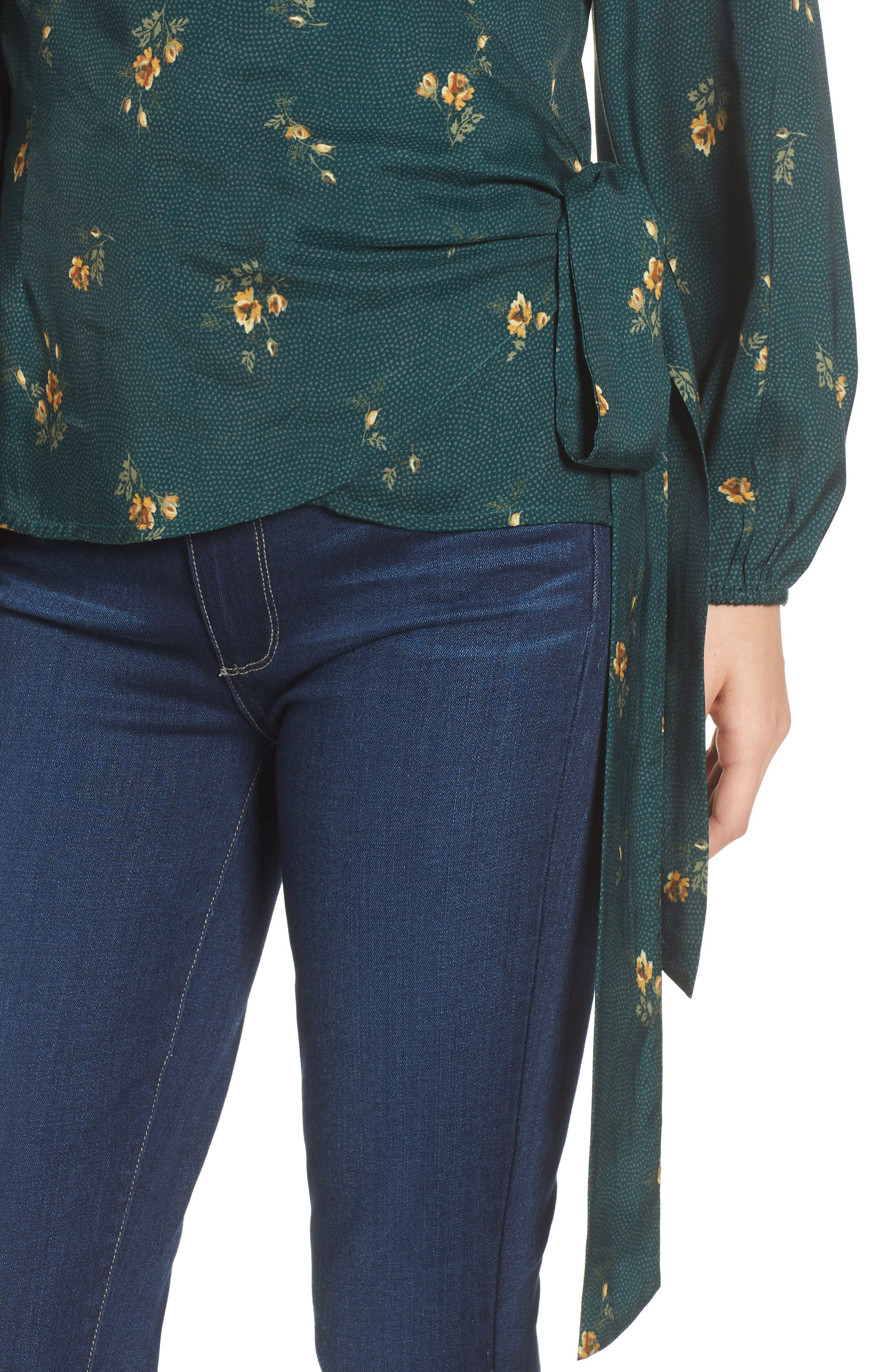Floral Spot Wrap Top,                             Alternate thumbnail 4, color,                             301