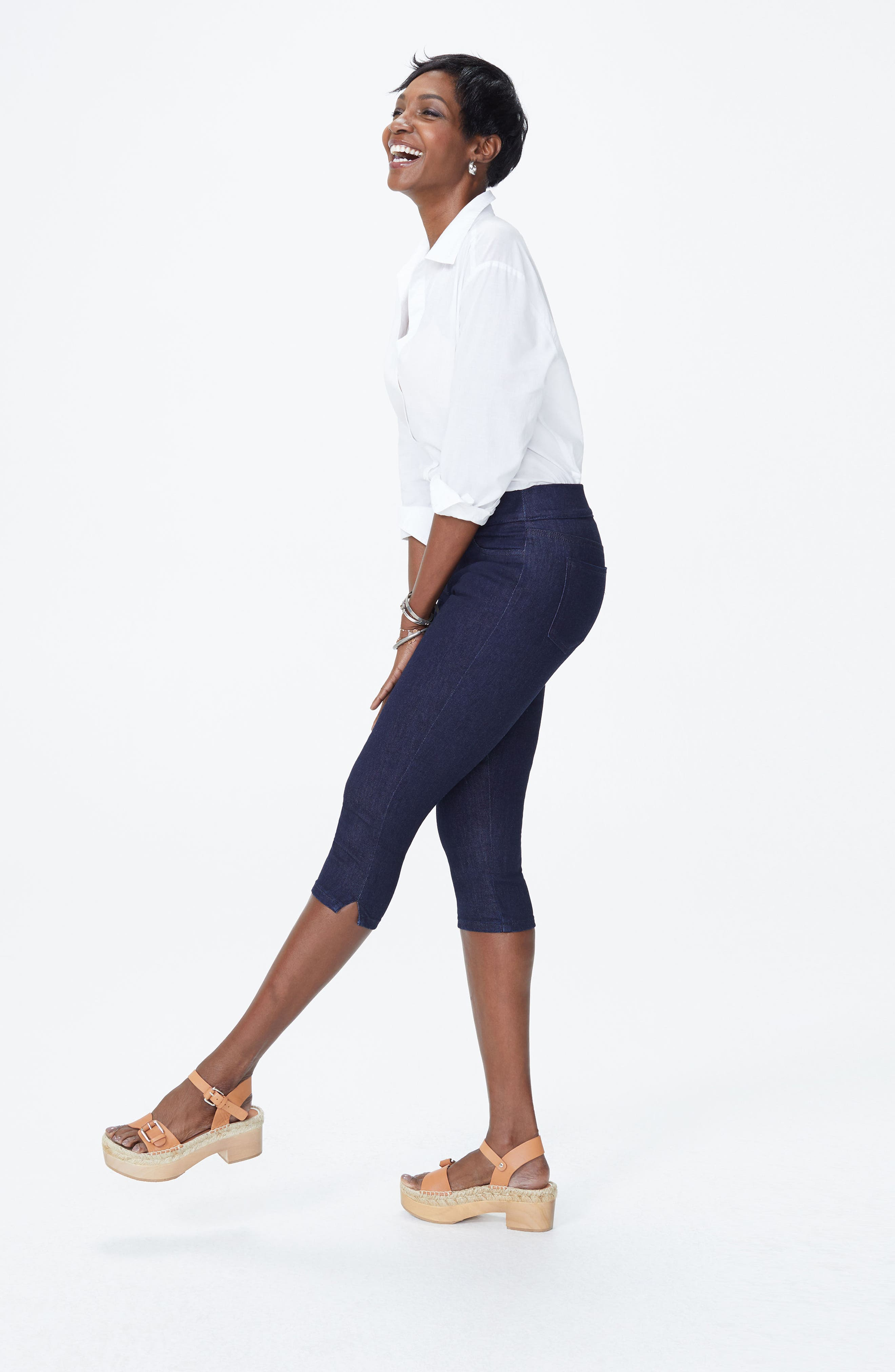 High Waist Pull-On Stretch Skinny Capri Jeans,                             Alternate thumbnail 5, color,                             408