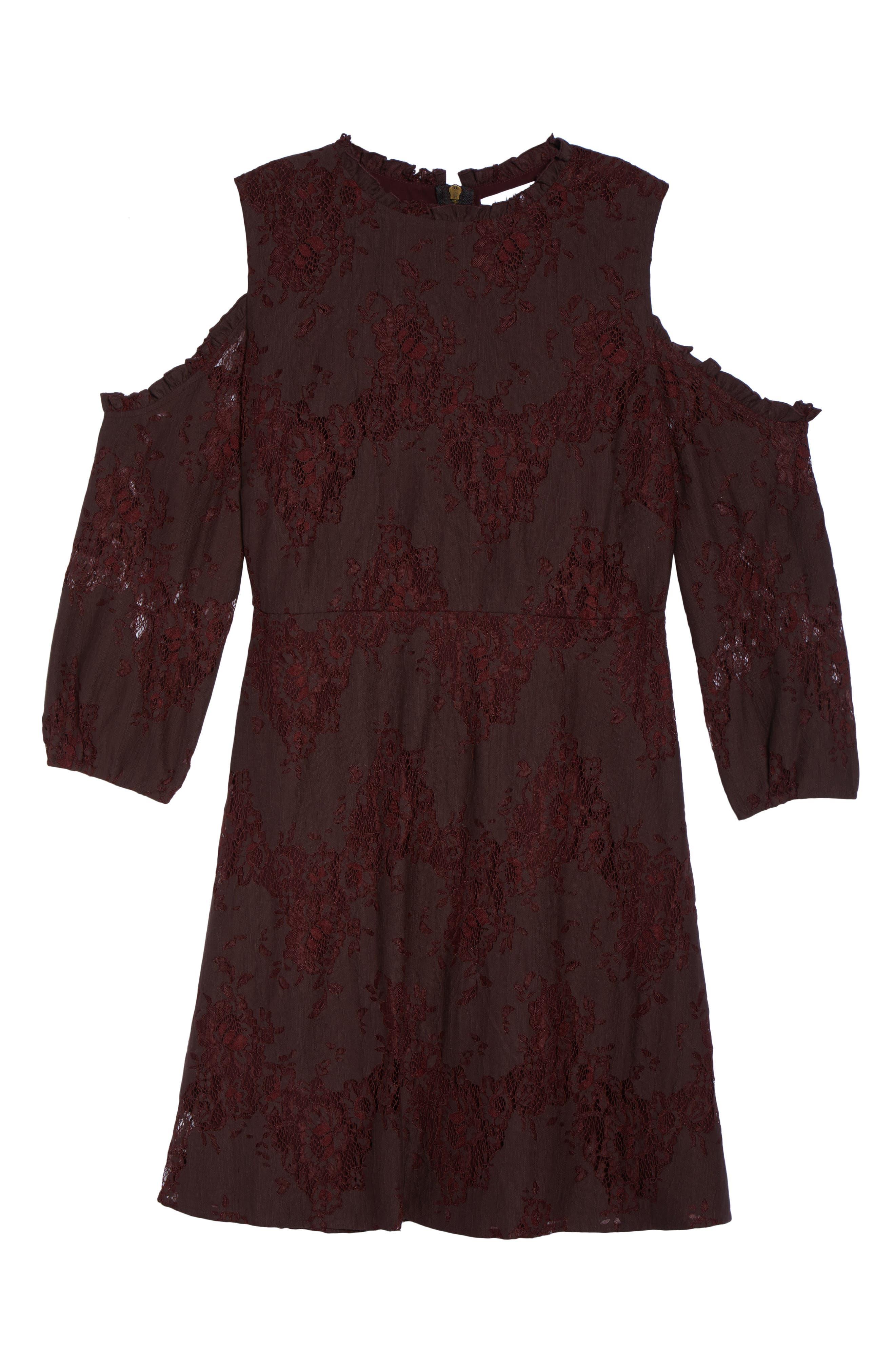 Cold Shoulder Lace A-Line Dress,                             Alternate thumbnail 6, color,