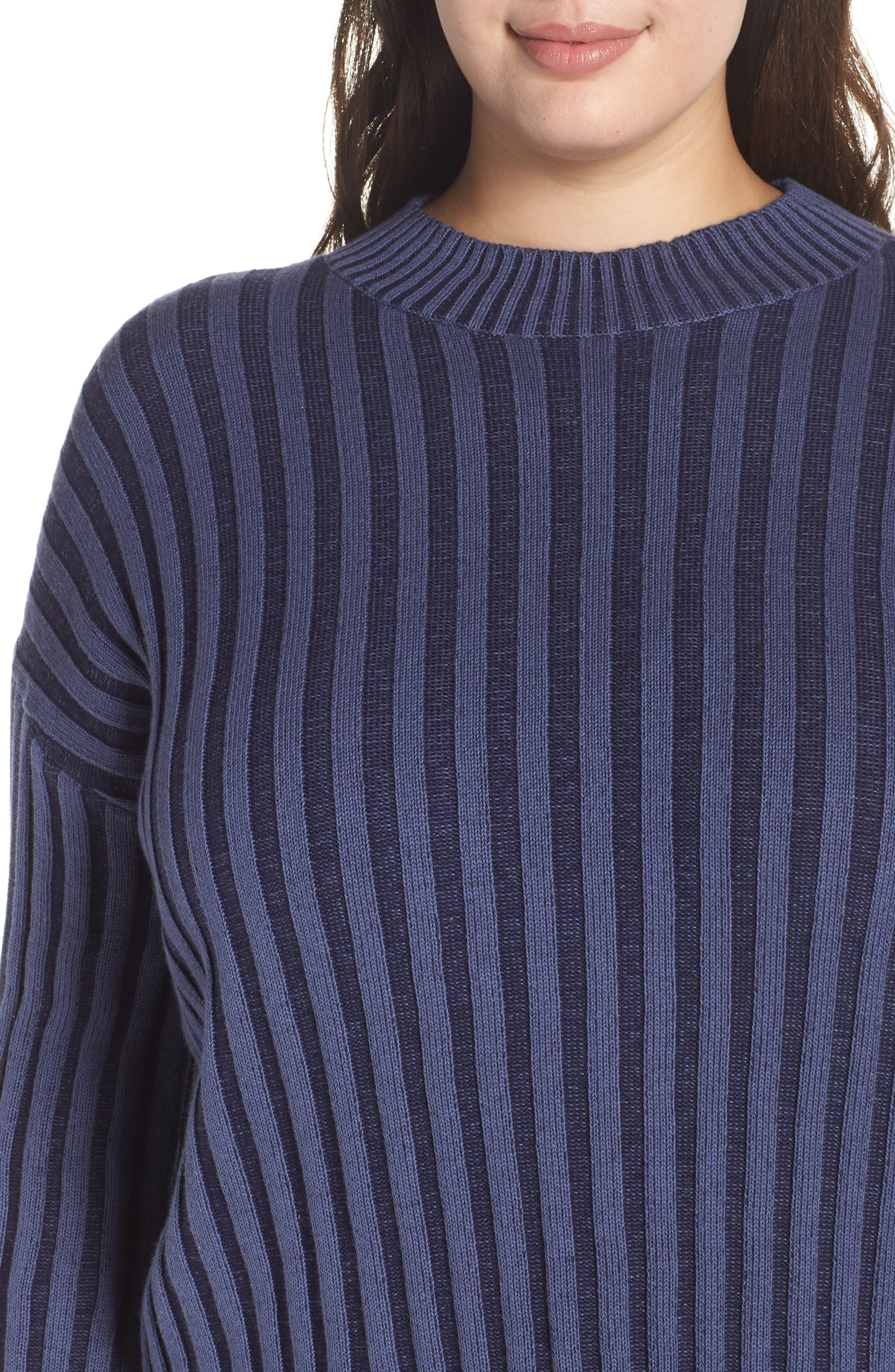 Shadow Rib Crop Sweater,                             Alternate thumbnail 10, color,                             NAVY EVENING