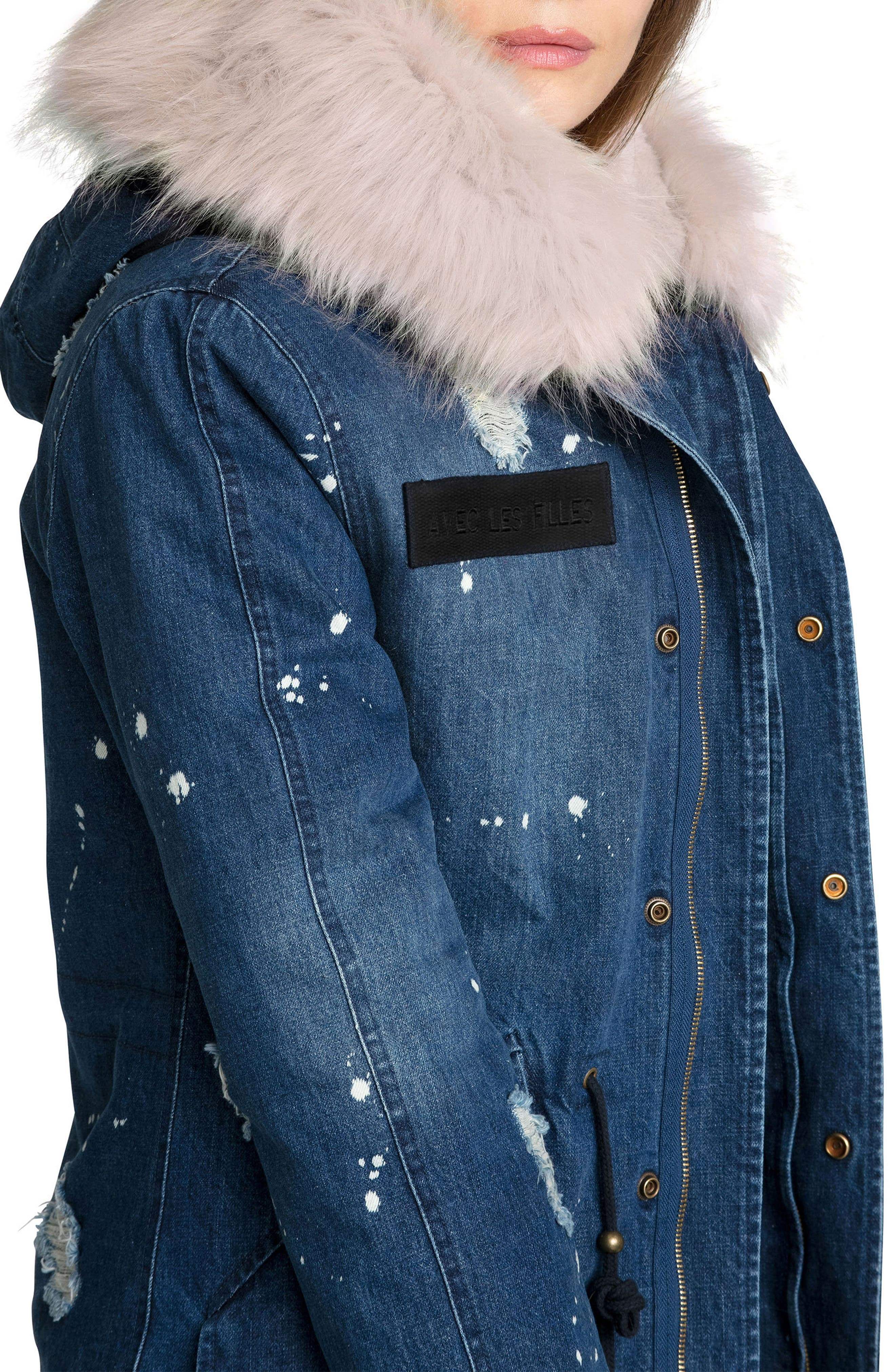 3-in-1 Distressed Denim Parka with Faux Shearling Trim,                             Alternate thumbnail 3, color,