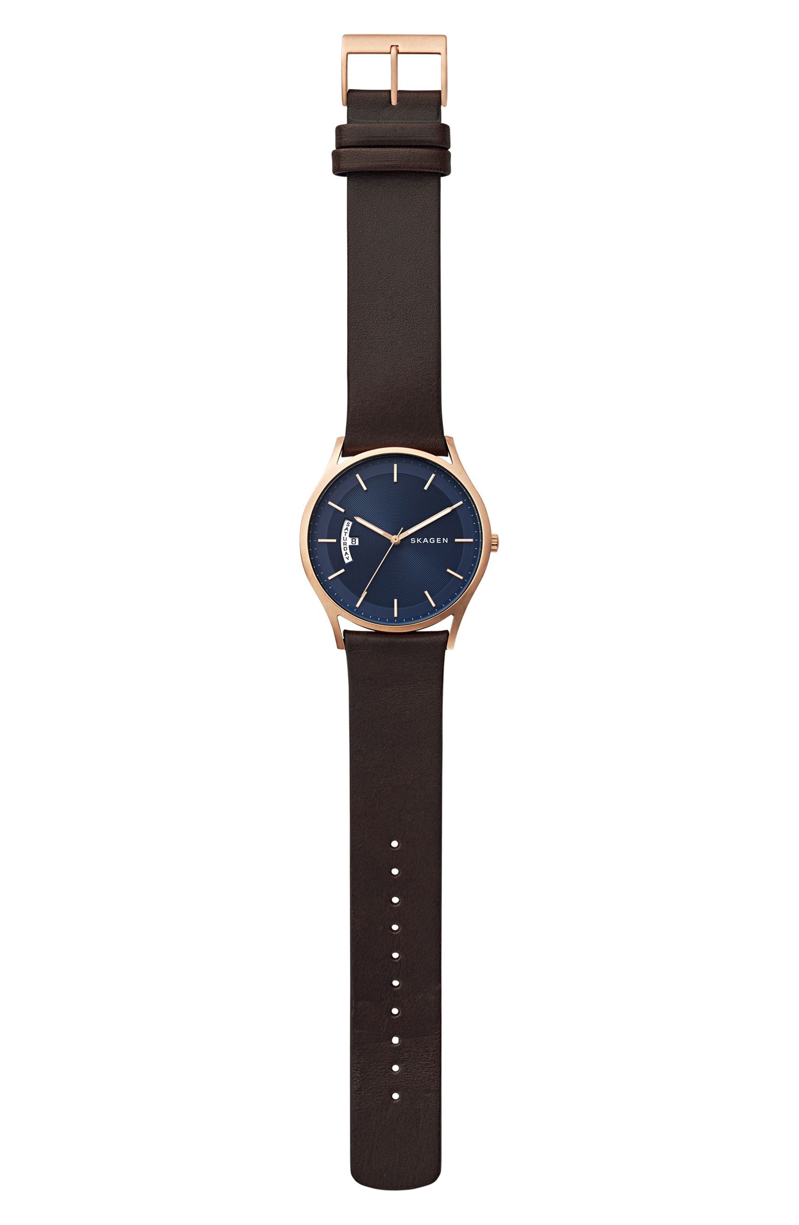 Holst Leather Strap Watch, 40mm,                             Alternate thumbnail 3, color,                             BROWN/ BLUE/ ROSE GOLD