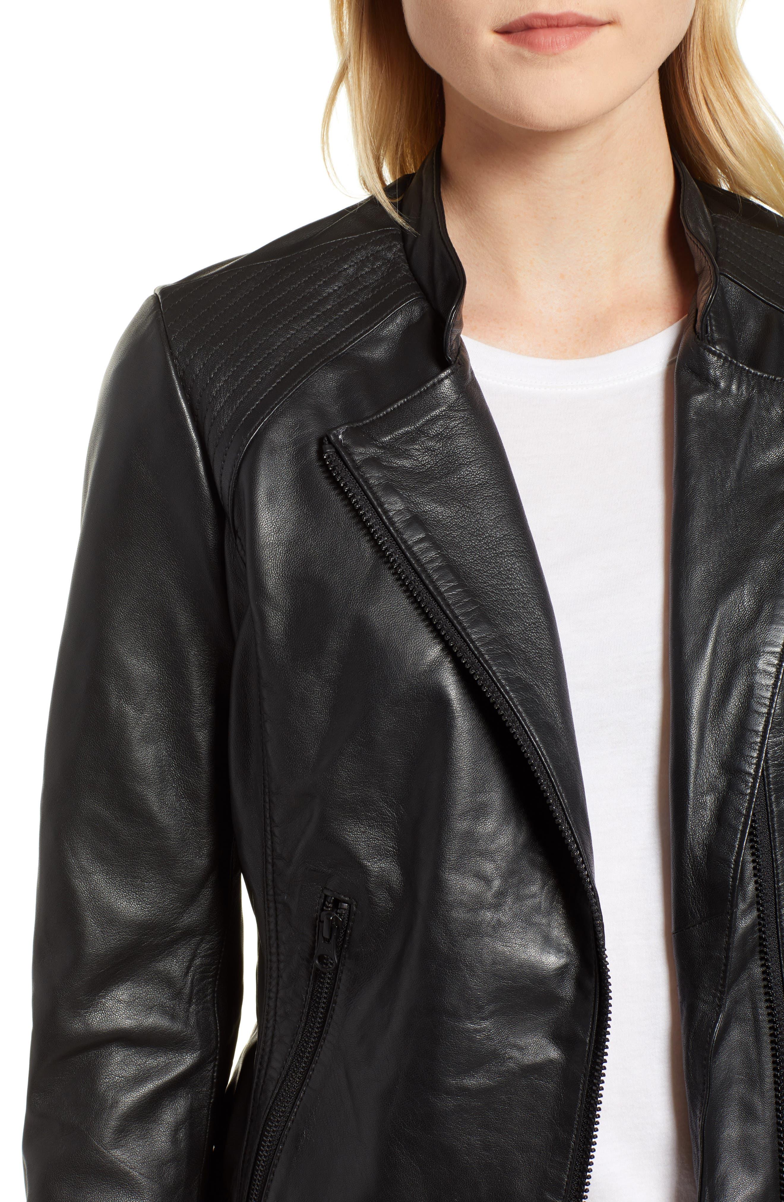 Zip Racer Leather Jacket,                             Alternate thumbnail 4, color,                             BLACK