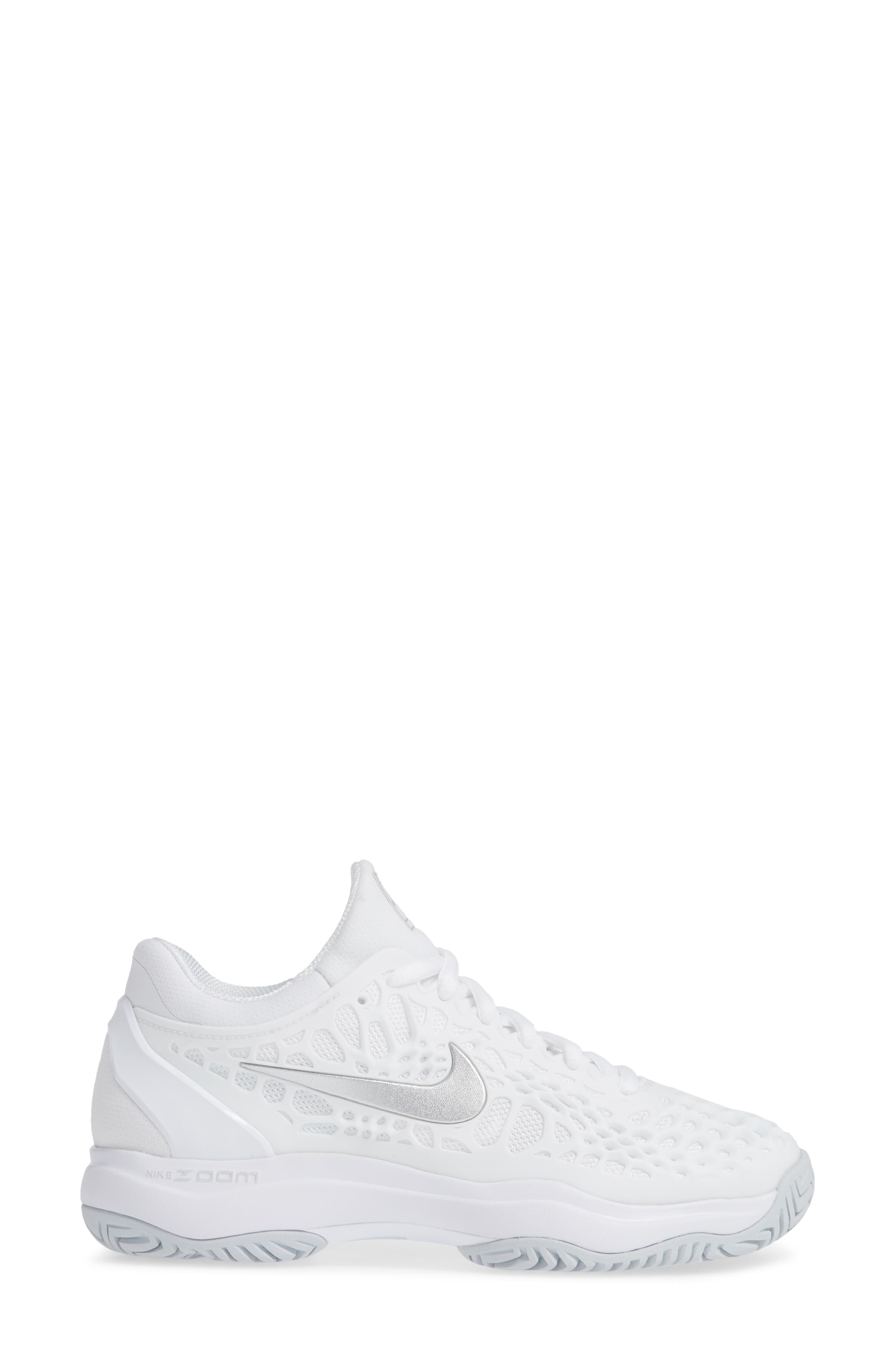 Air Zoom Cage 3 HC Tennis Shoe,                             Alternate thumbnail 3, color,                             WHITE/ SILVER/ PLATINUM