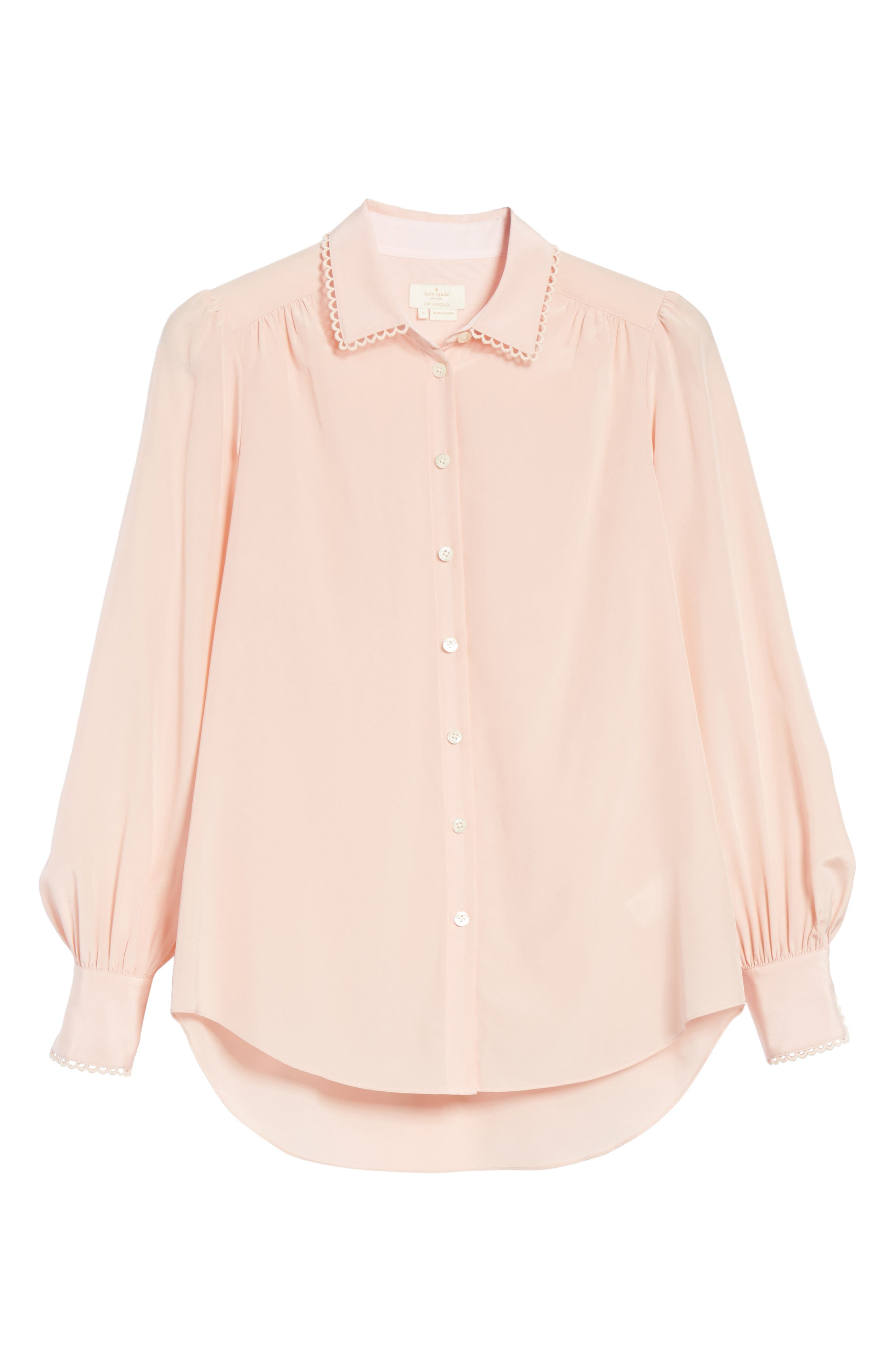 KATE SPADE NEW YORK,                             scallop trim silk shirt,                             Alternate thumbnail 6, color,                             663