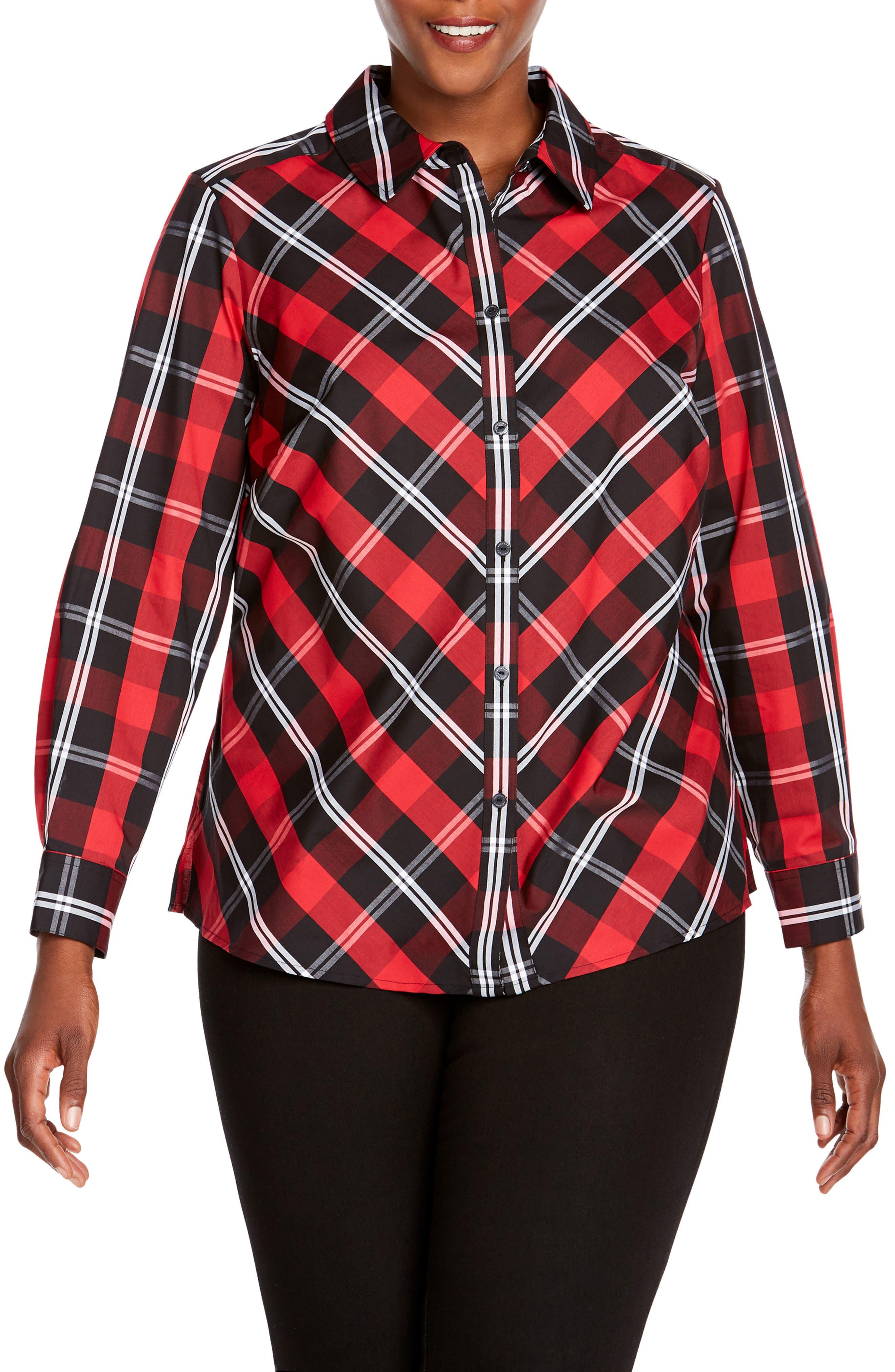 Tina Mackenzie Tartan Plaid Shirt,                         Main,                         color, BLACK/ RED