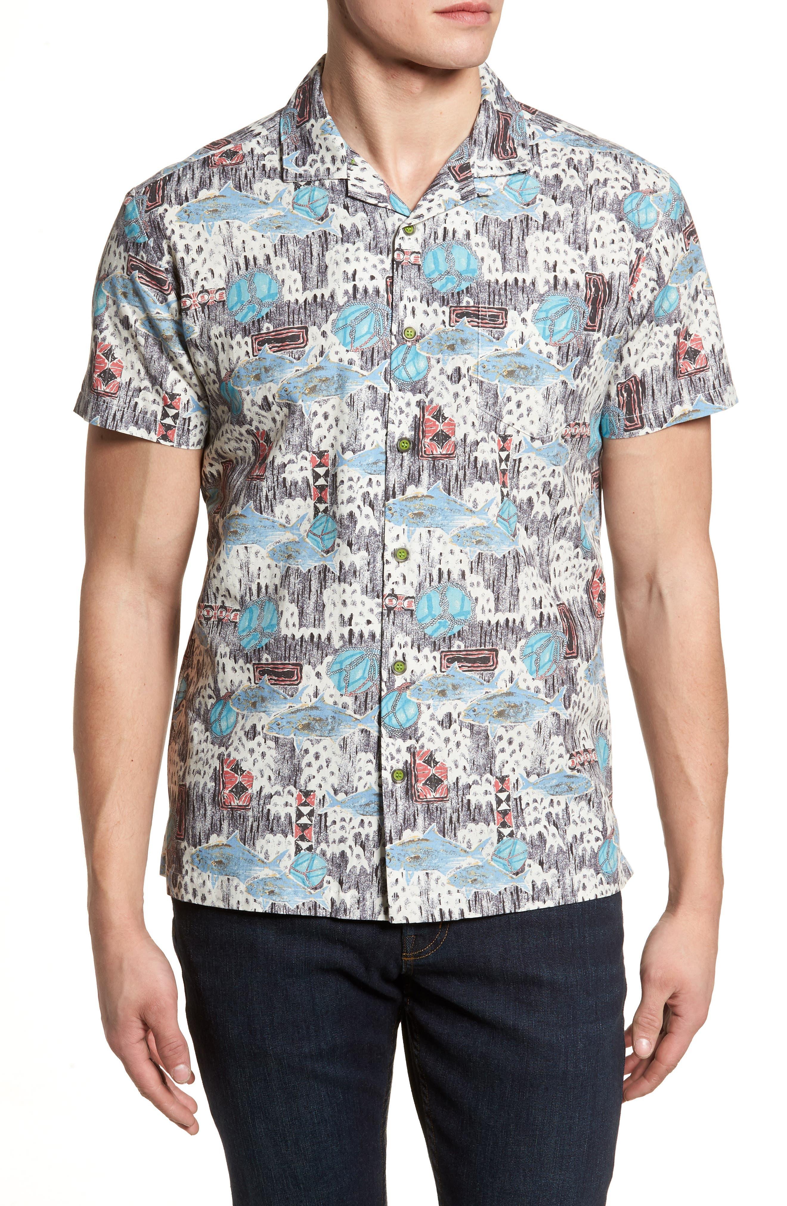 Scales Trim Fit Print Sport Shirt,                         Main,                         color, 020