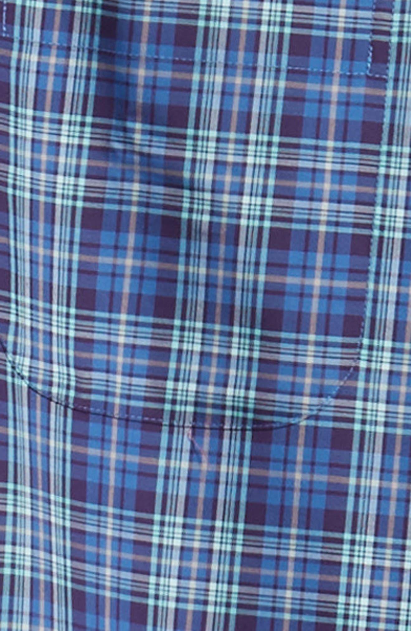 Crown Ease Flatey Island Regular Fit Tartan Plaid Sport Shirt,                             Alternate thumbnail 6, color,                             BLUE