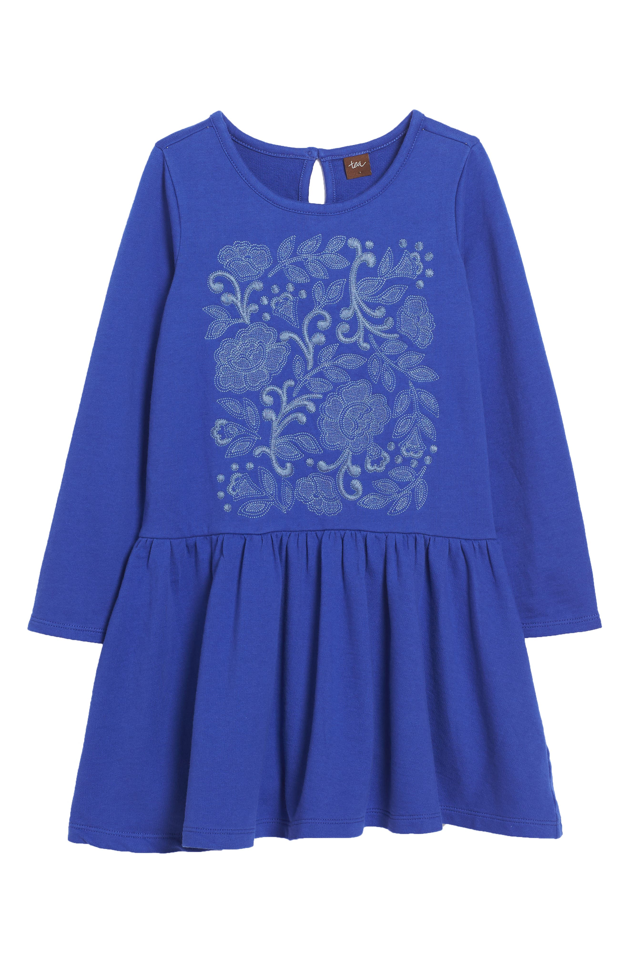 Feather & Fan Embroidered Drop Waist Dress,                         Main,                         color, 494