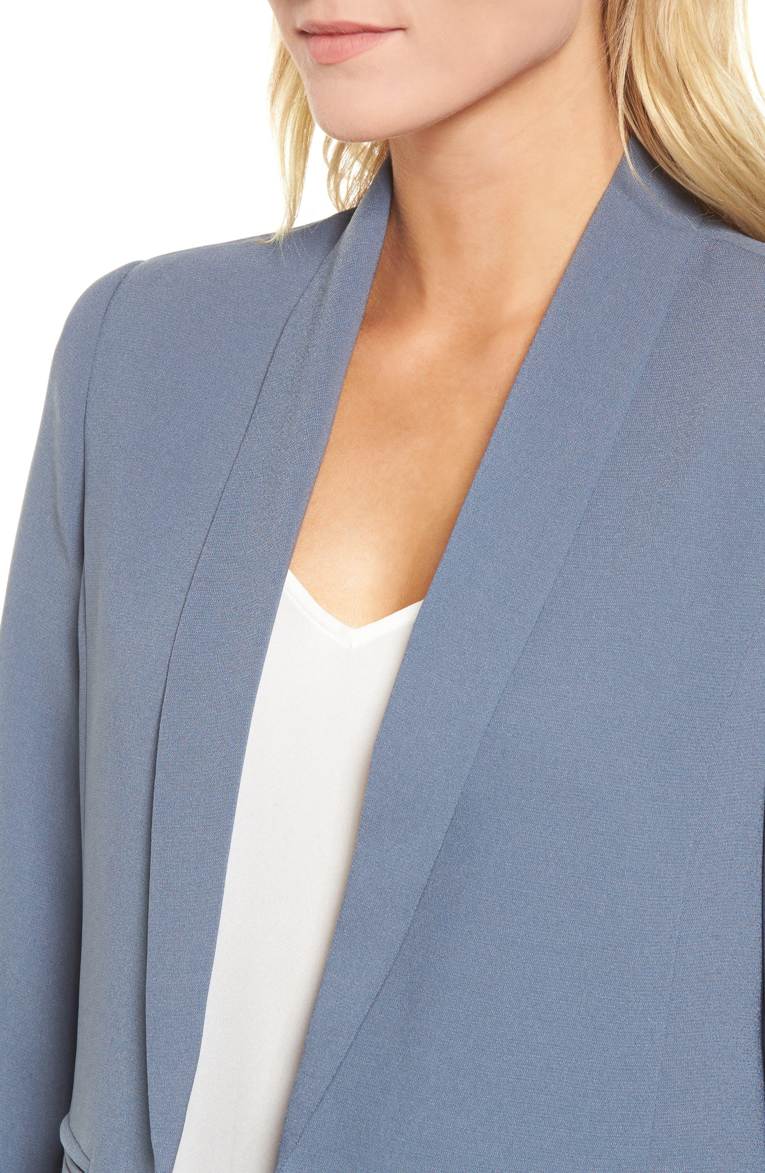 'Curve' Open Front Shawl Collar Blazer,                             Alternate thumbnail 4, color,                             401